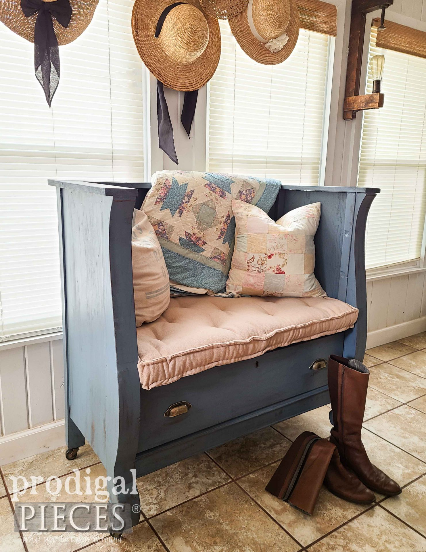 Cottage Style Bench from Upcycled Antique Empire Chest of Drawers by Larissa of Prodigal Pieces | prodigalpieces.com #prodigalpieces #diy #home #furniture #homedecor