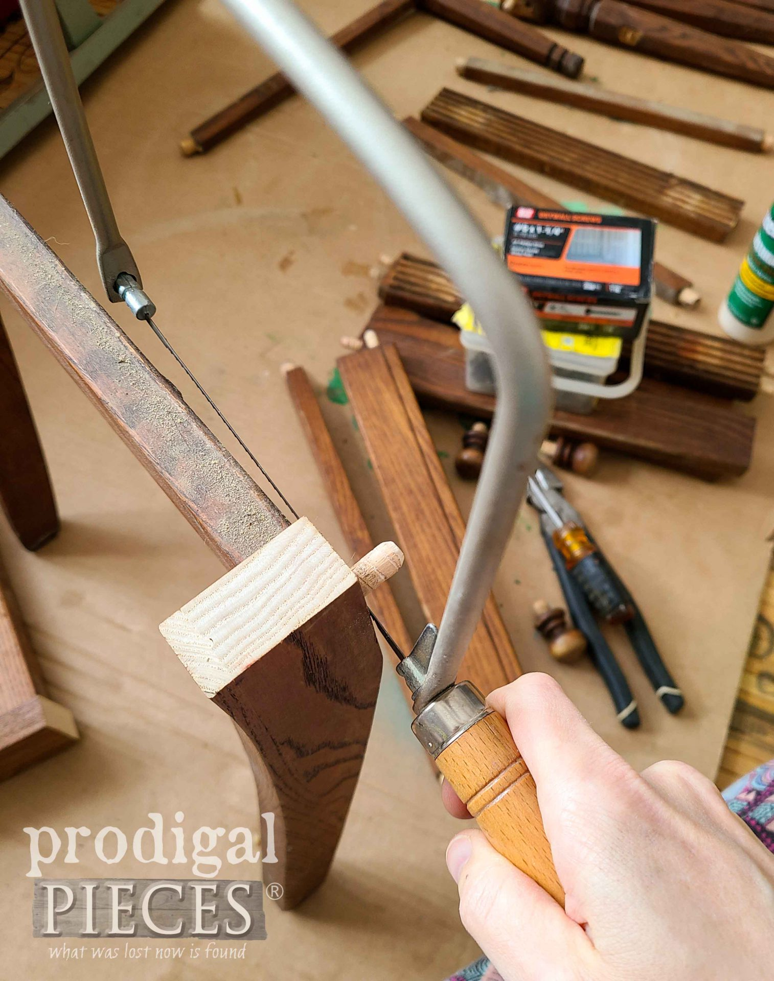 Cutting Upcycled Chair Legs | prodigalpieces.com