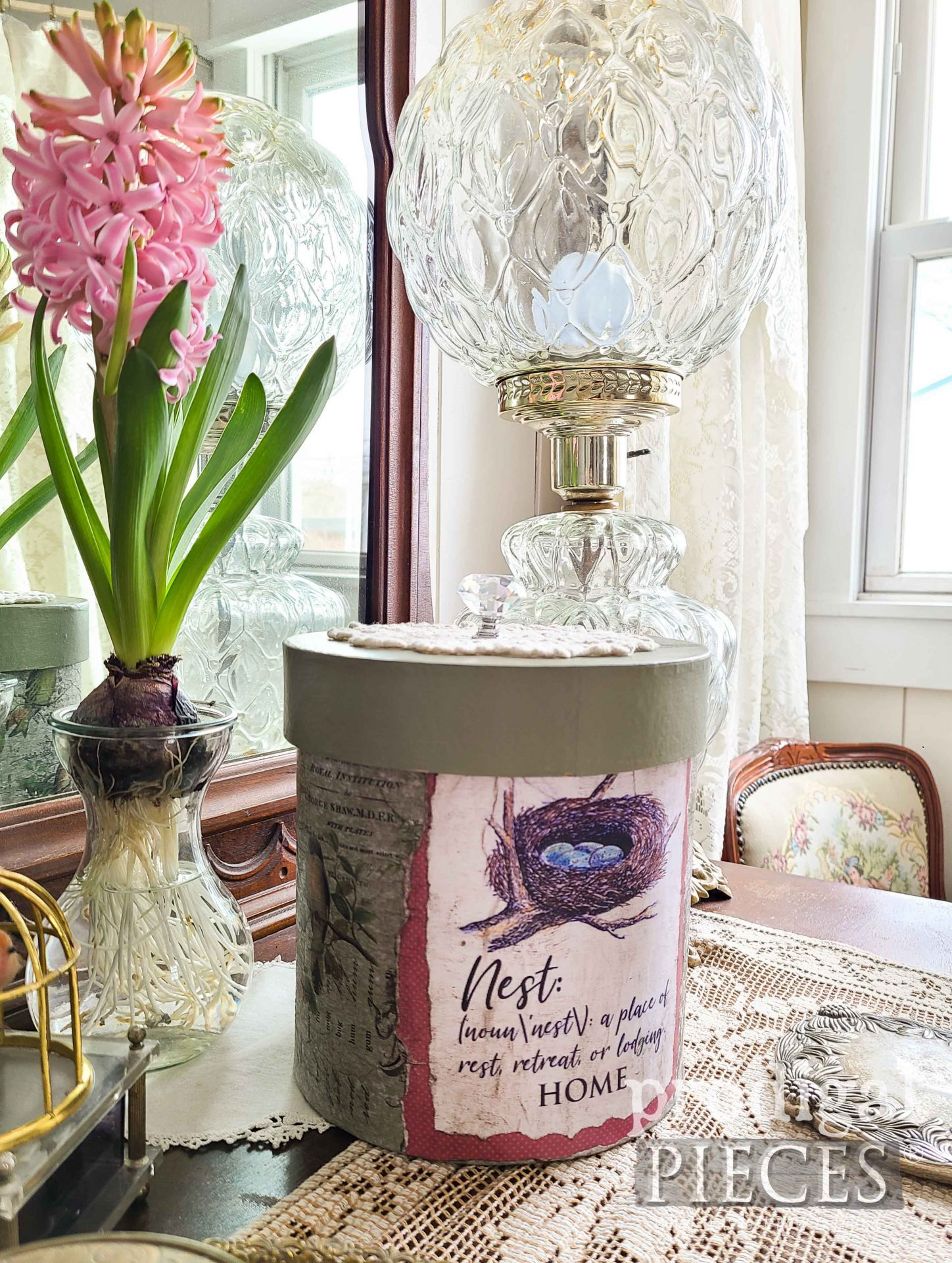 Vintage Style Decoupaged Storage Box by Larissa of Prodigal Pieces | prodigalpieces.com #prodigalpieces #diy #birds #vintage