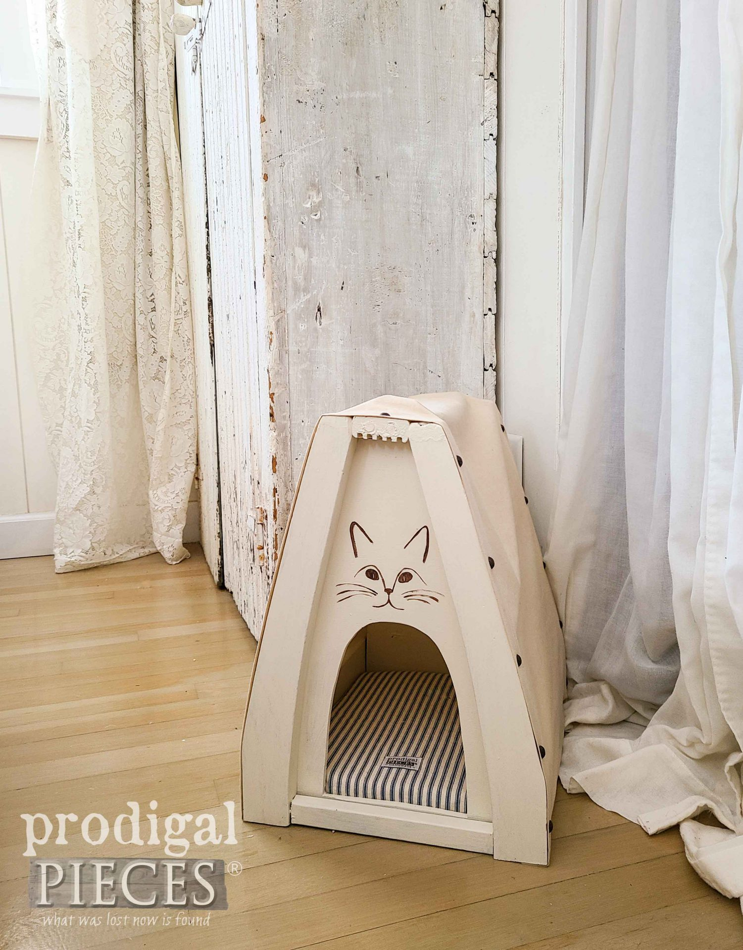 DIY Cat Bed Cave from Upcycled Chair Parts by Larissa of Prodigal Pieces | prodigalpieces.com #prodigalpieces #cats #pets #diy #home