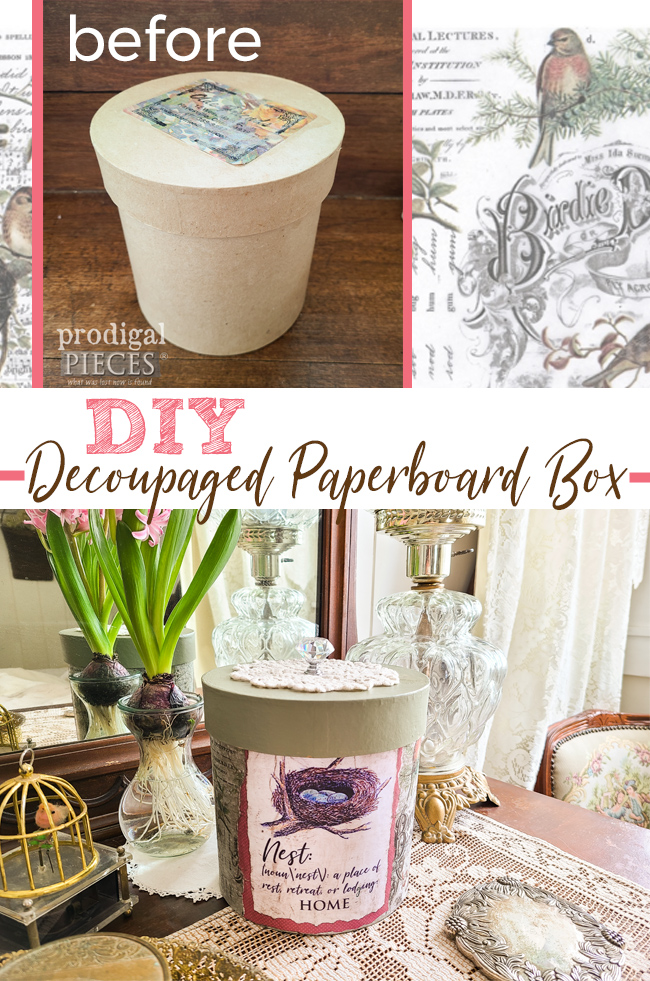Create your own home decor with this DIY Decoupage Tutorial by Larissa of Prodigal Pieces | prodigalpieces.com #prodigalpieces #diy #home #homedecor #diy #decoupage