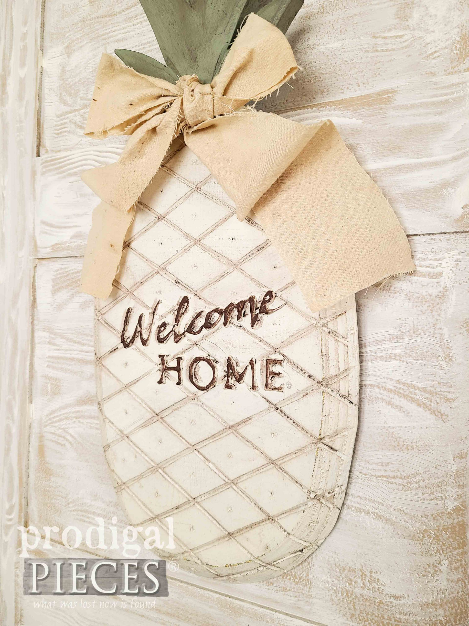 Embossed Welcome Sign Pineapple by Larissa of Prodigal Pieces | prodigalpieces.com #prodigalpieces #fun #home #pineapple