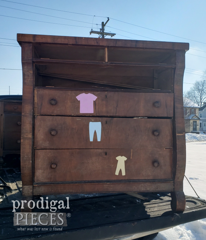 Antique Empire Chest Before Upcycle by Larissa of Prodigal Pieces | prodigalpieces.com #prodigalpieces
