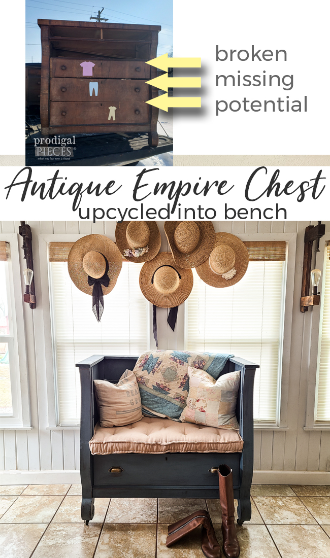 How fun! A dilapidated antique empire chest of drawers is repurposed into an upholstered bench by Larissa of Prodigal Pieces | See the DIY at prodigalpieces.com #prodigalpieces #diy #home #furniture #homedecor #handmade #upholstery