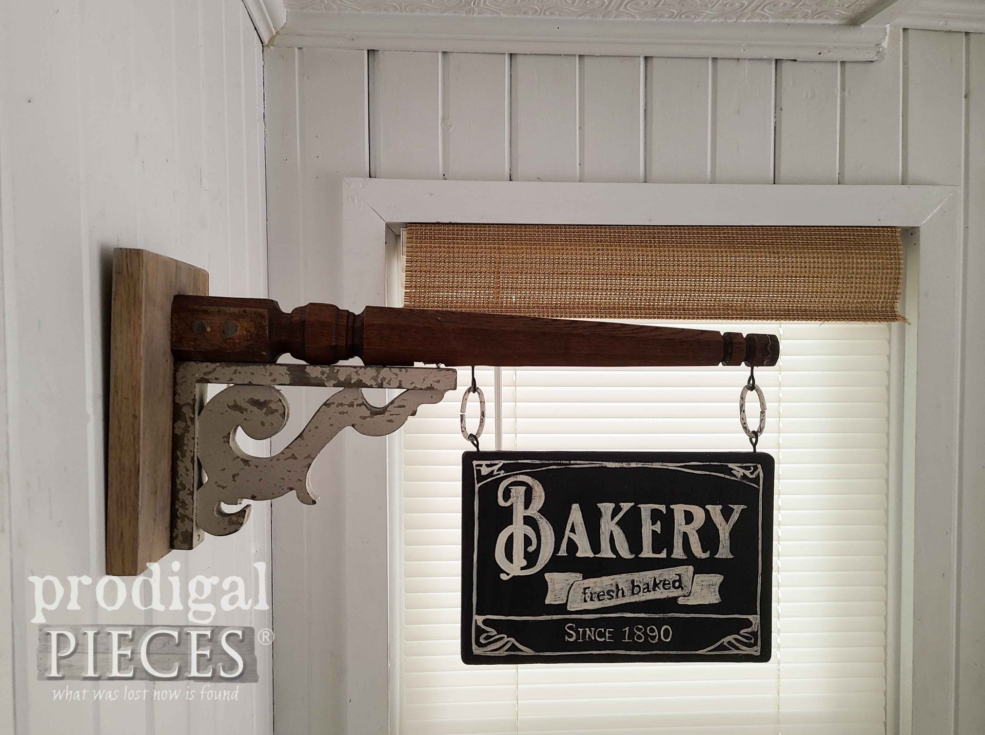 Farmhouse Bakery Sign from Upcycled Chair Legs by Larissa of Prodigal Pieces | prodigalpieces.com #prodigalpieces #diy #home #homedecor