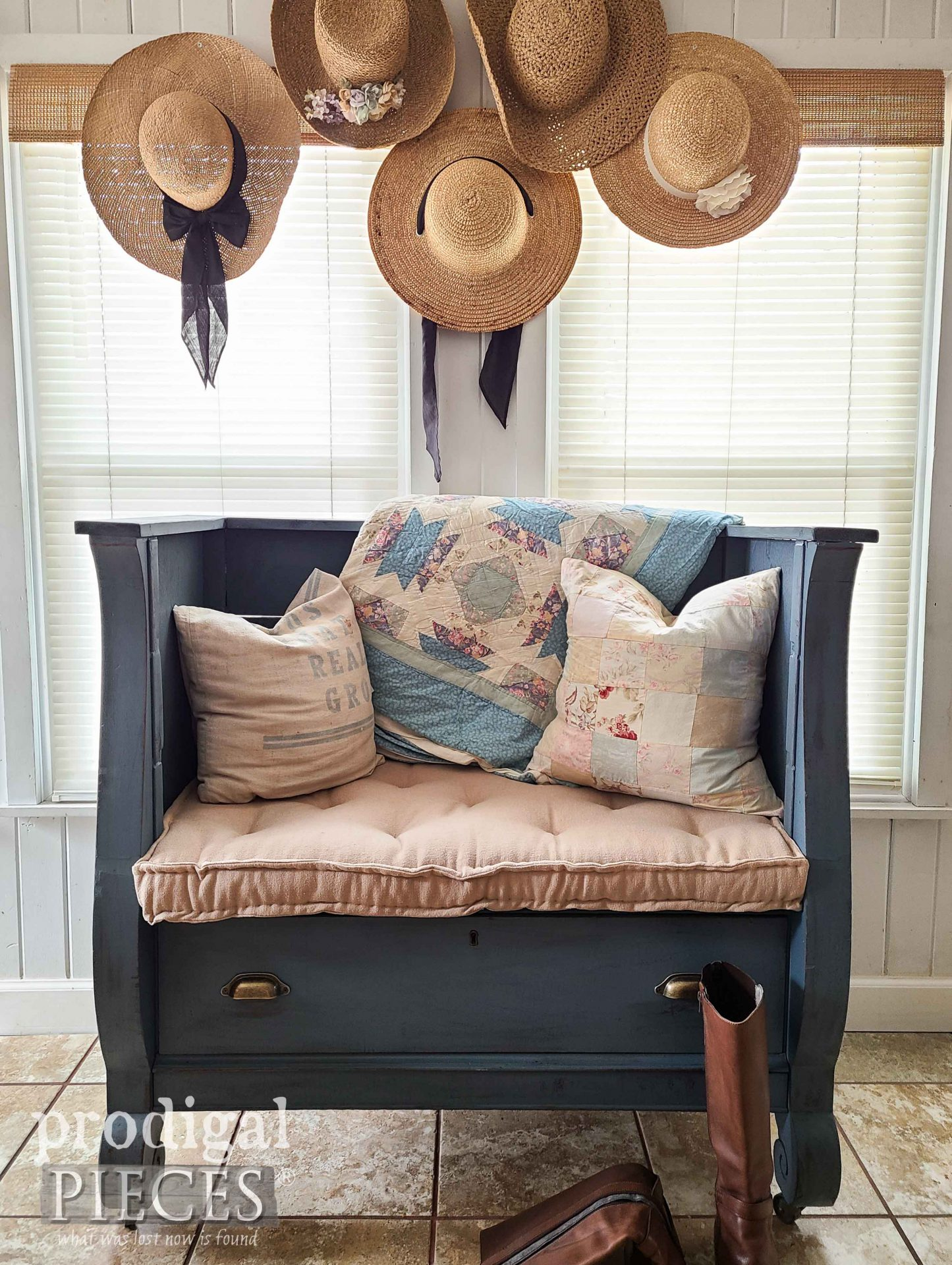 Farmhouse Style Entry Bench with Tufted French Mattress by Larissa of Prodigal Pieces | prodigalpieces.com #prodigalpieces #farmhouse #furniture #diy #home