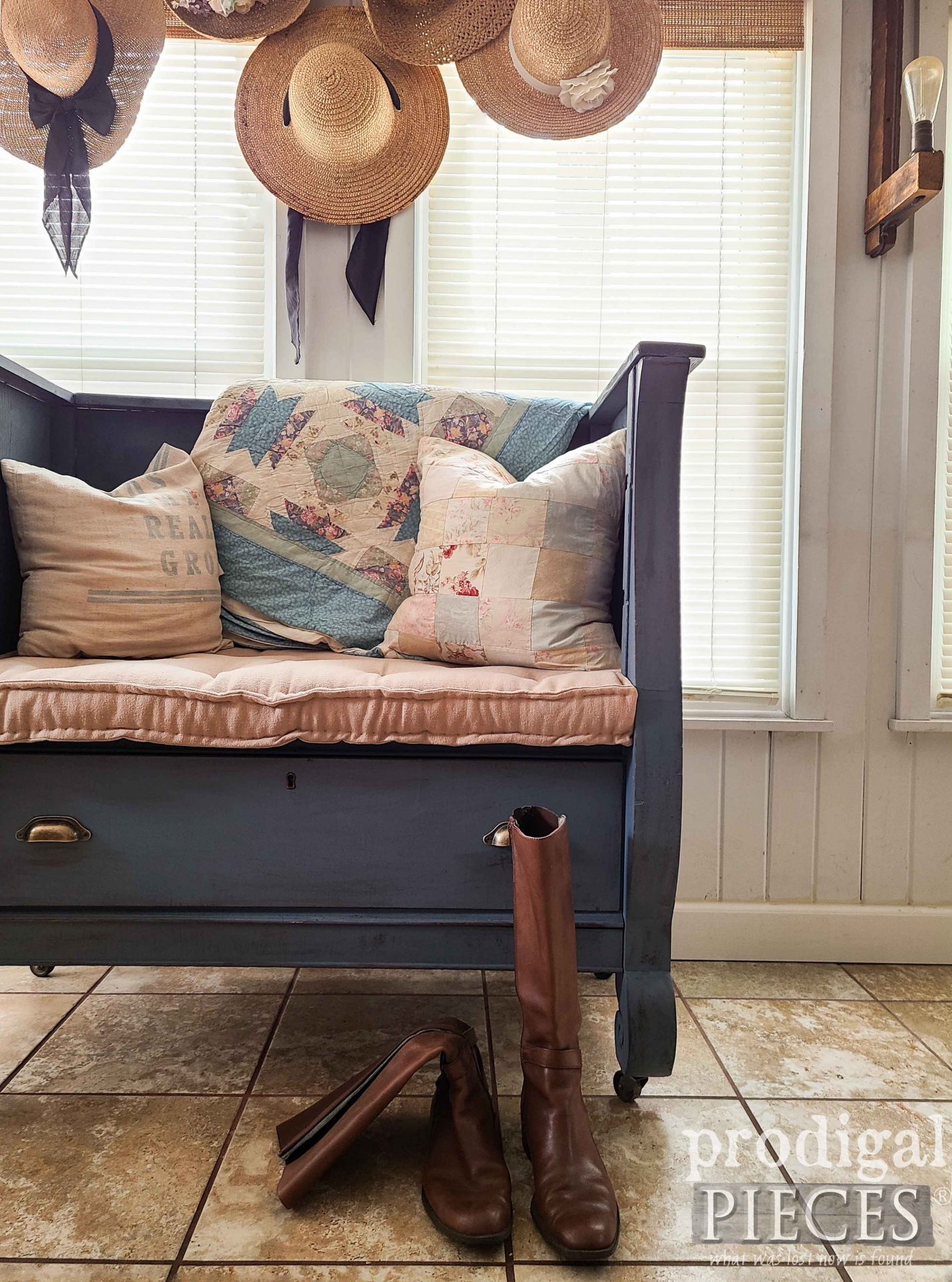 Rustic Upcycled Farmhouse Style Bench with French Tufted Mattress by Larissa of Prodigal Pieces | prodigalpieces.com #prodigalpieces #upcycled #home #homedecor #diy #furniture