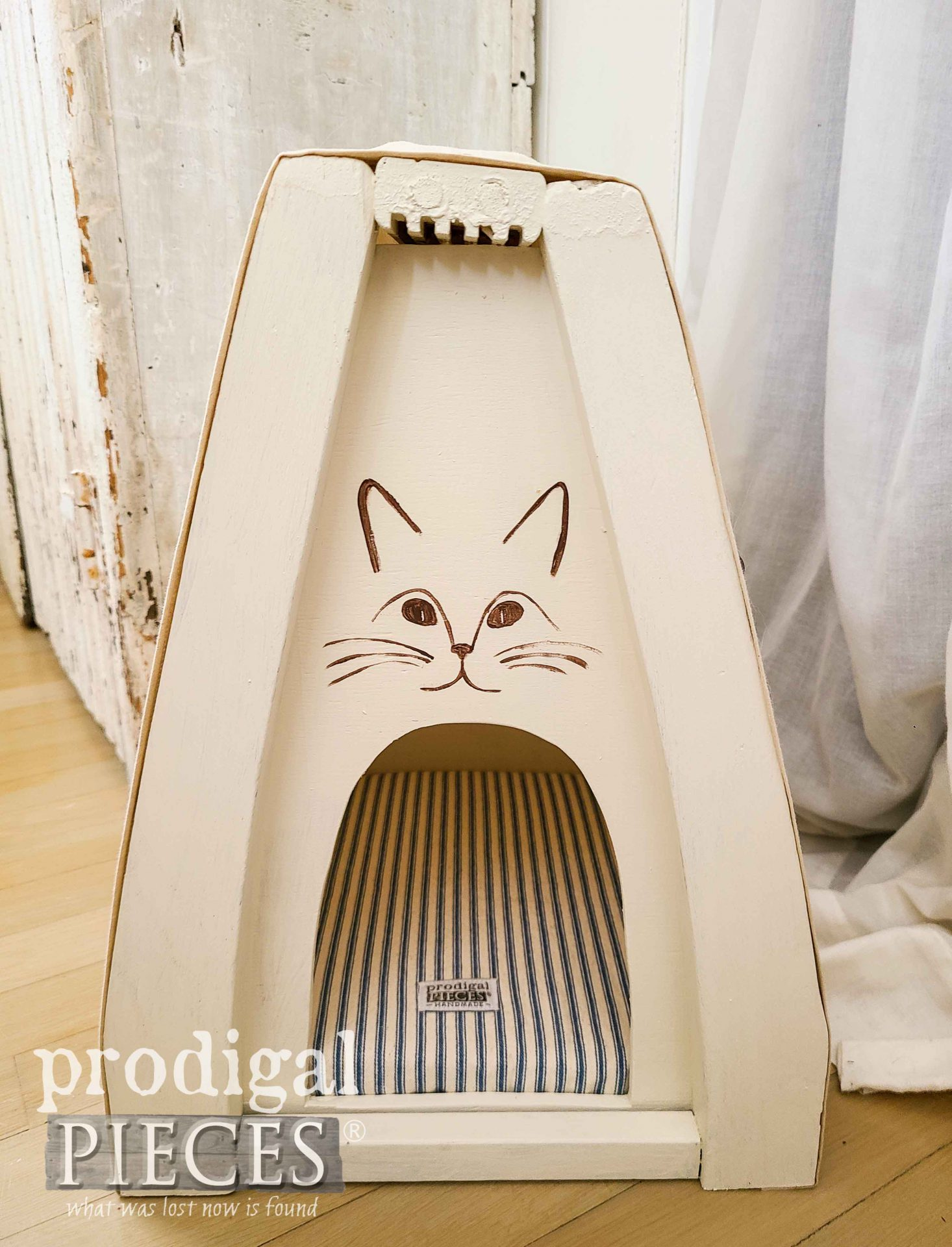Farmhouse Ticking Stripe Cat Cave Bed by Larissa of Prodigal Pieces | prodigalpieces.com #prodigalpieces #diy #cats #pets #handmade