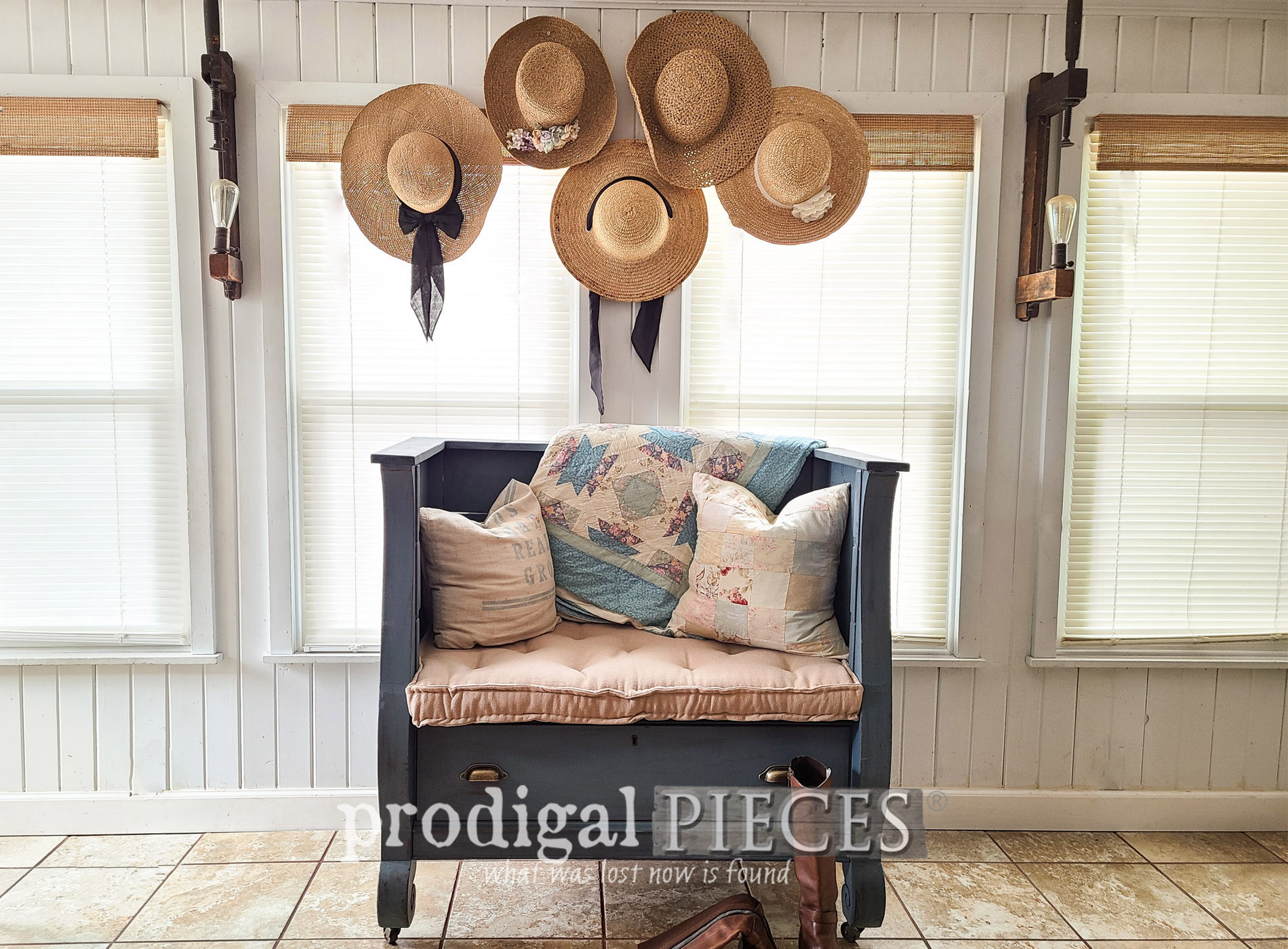 Featured Antique Empire Chest Upcycled into Upholstered Bench with French Mattress by Larissa of Prodigal Pieces | prodigalpieces.com #prodigalpieces #furniture #upcycle #farmhouse #diy #home #homedecor