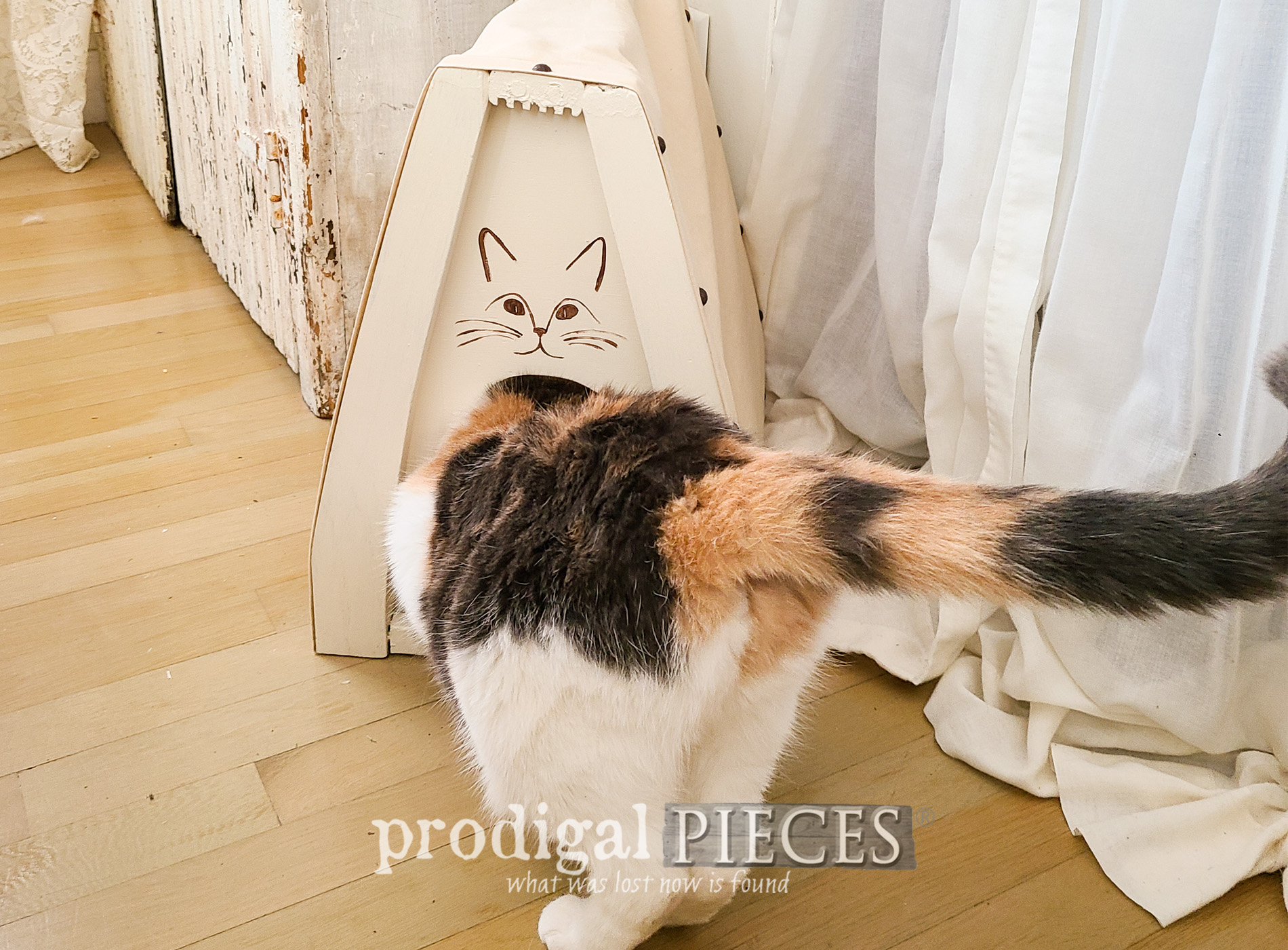 Featured Upcycled Chair Parts transformed into a Cat Cave by Larissa of Prodigal Pieces | prodigalpieces.com #prodigalpieces #diy #cats #pets #home #upcycled