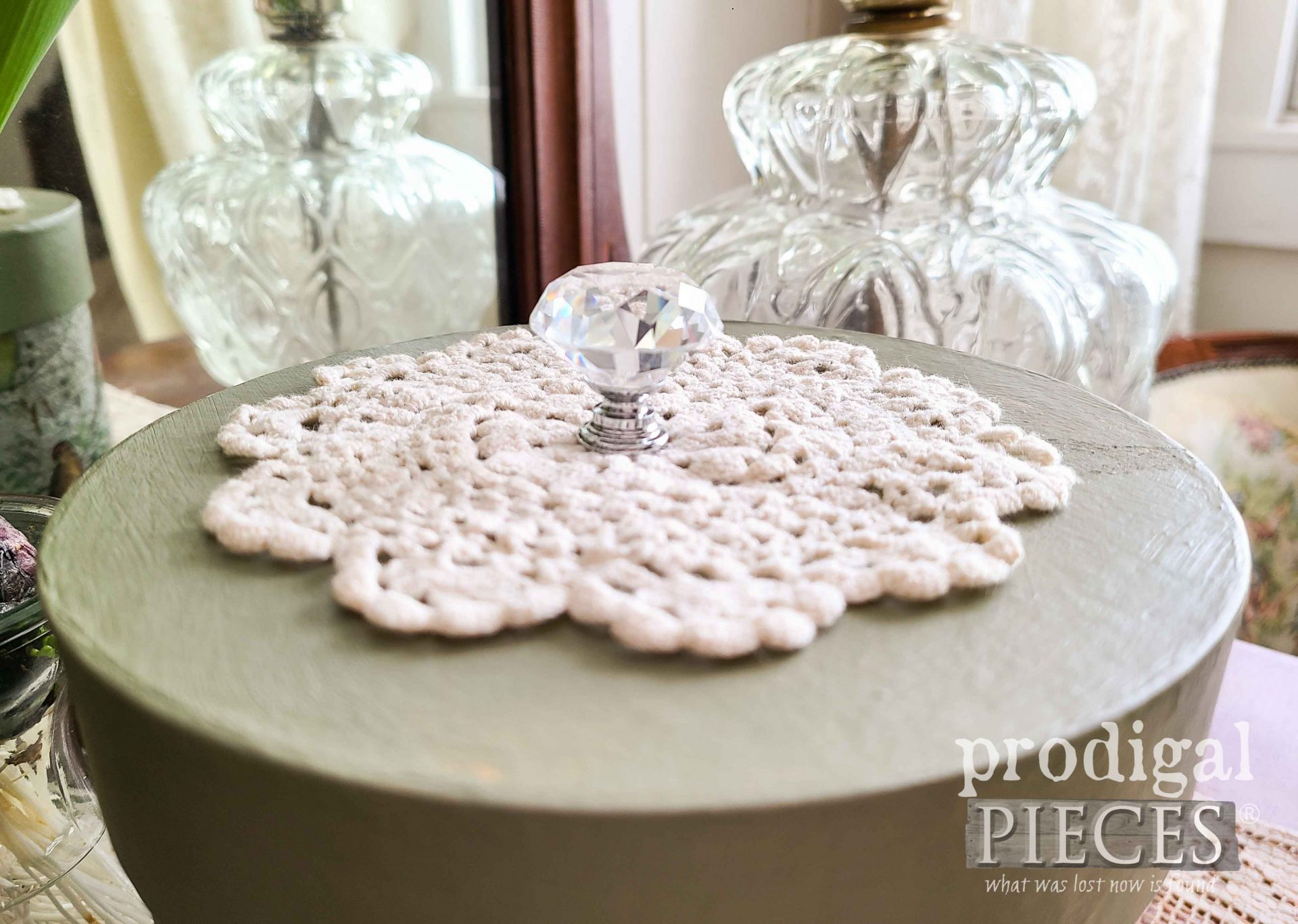 Glass Knob on DIY Decoupage Box by Larissa of Prodigal Pieces | prodigalpieces.com #prodigalpieces #vintage #bling #home