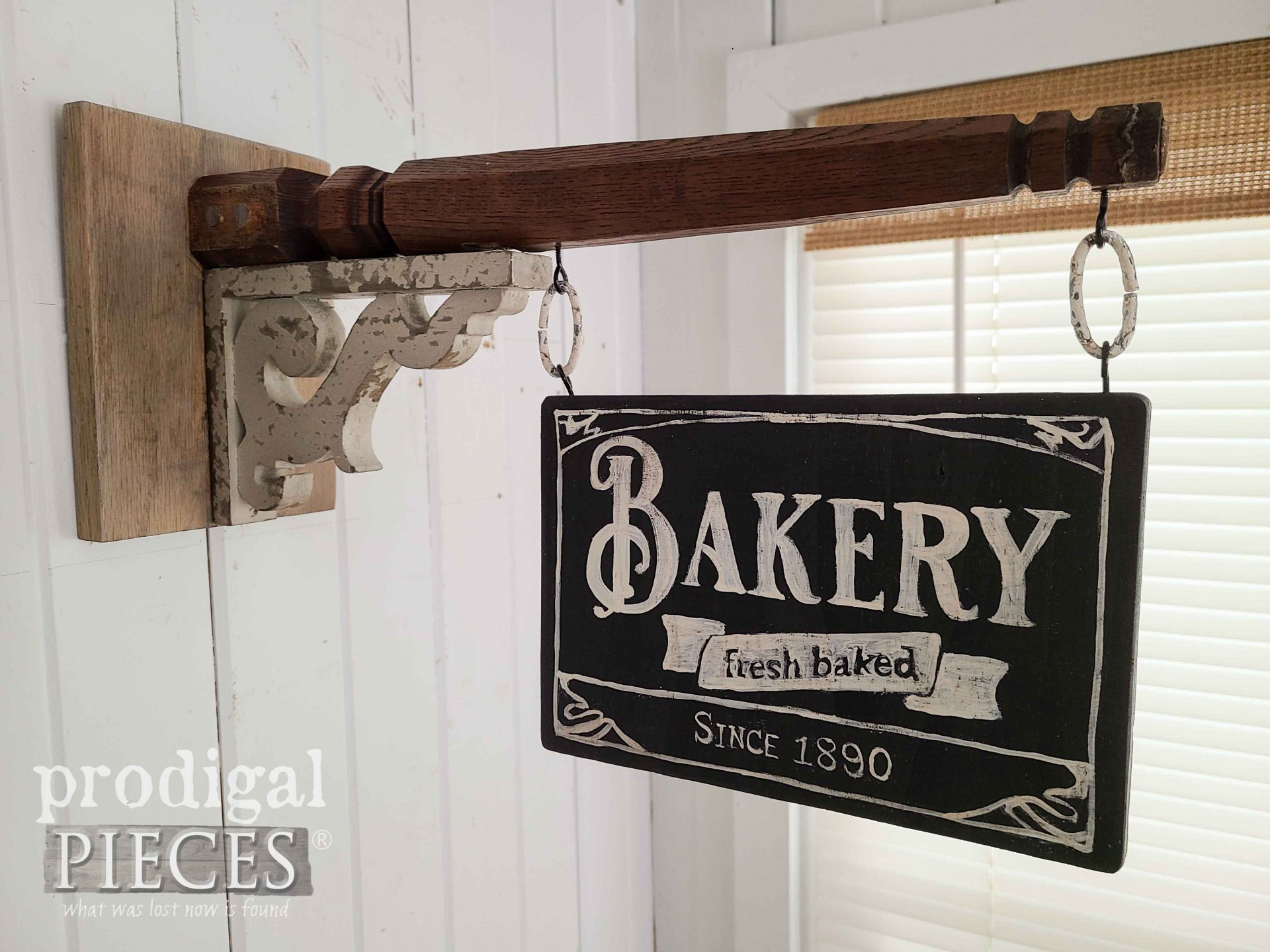 Hand-Painted Bakery Sign from Upcycled Chair Legs into Farmhouse Decor by Larissa of Prodigal Pieces | prodigalpieces.com