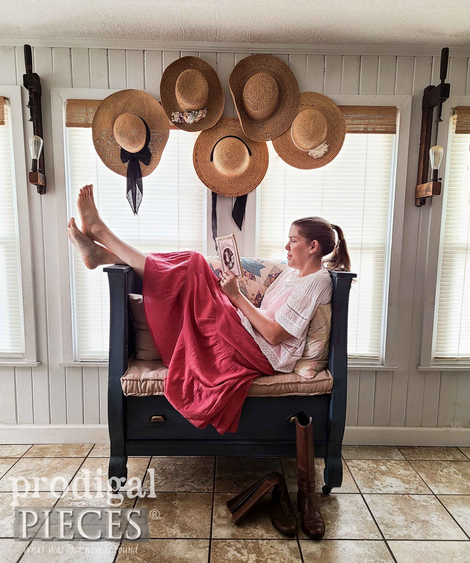 Larissa of Prodigal Pieces Sitting on Her Upcycled Antique Empire Chest Bench | prodigalpieces.com #prodigalpieces #furniture #home #homedecor