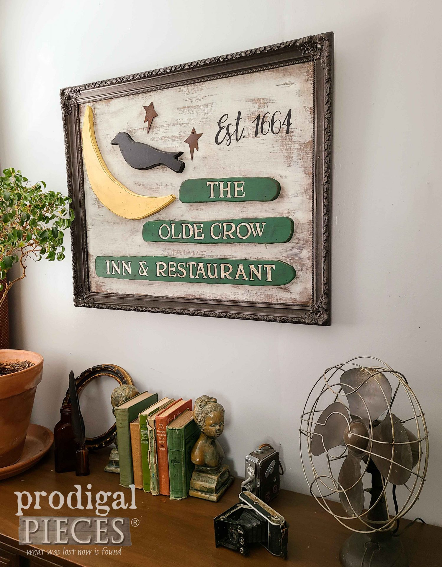 The Olde Crow Inn & Restaurant Sign from Repurposed Decor by Larissa of Prodigal Pieces | prodigalpieces.com #prodigalpieces #diy #home #homedecor