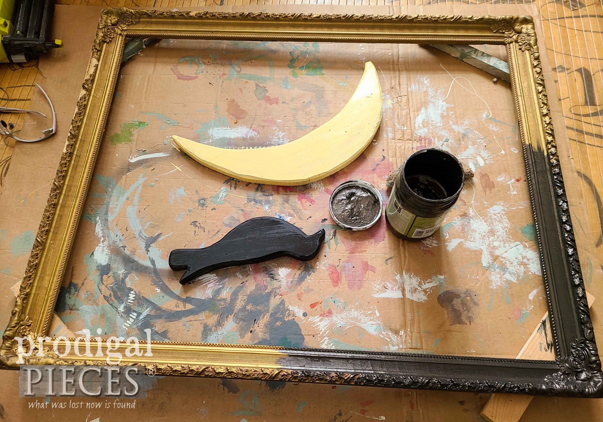 Painting Gold Frame for Antique Sign | prodigalpieces.com