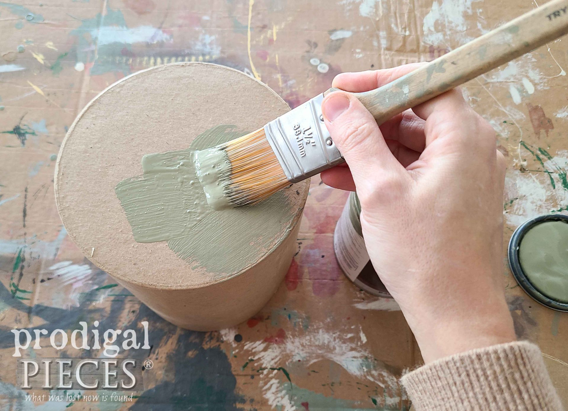 Painting Paperboard Box with Green Paint by Larissa of Prodigal Pieces | prodigalpieces.com #prodigalpieces #diy