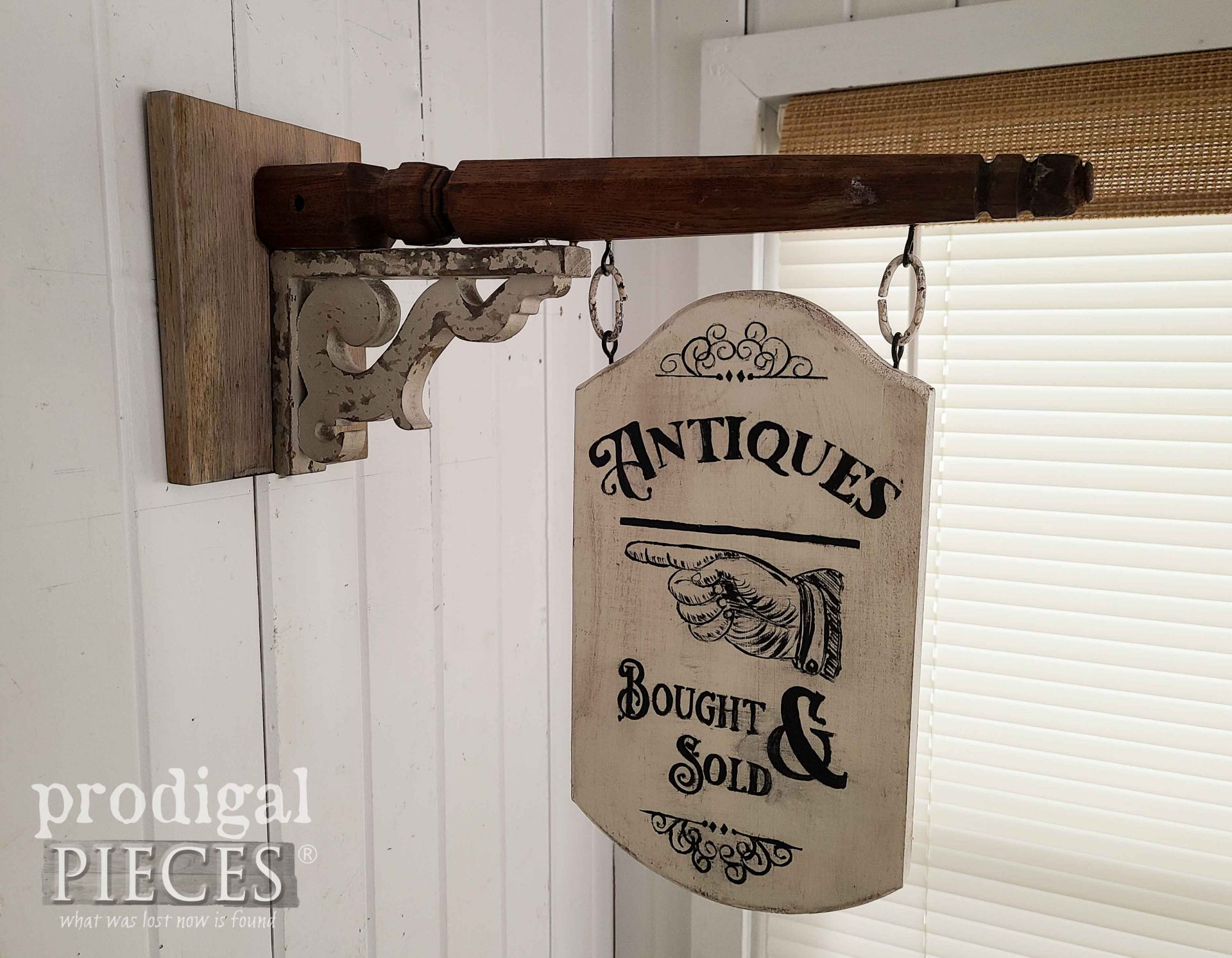 Reclaimed Antiques Sign from Upcycled Chair Legs by Larissa of Prodigal Pieces | prodigalpieces.com #prodigalpieces #farmhouse #antiuqe