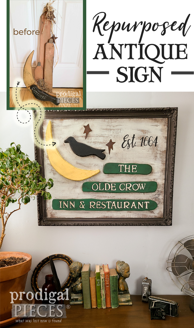 Fantastic Repurposed Antique Sign from Dated Fall Decor by Larissa of Prodigal Pieces | prodigalpieces.com #prodigalpieces #farmhouse #diy #home #homedecor #diy #crafts