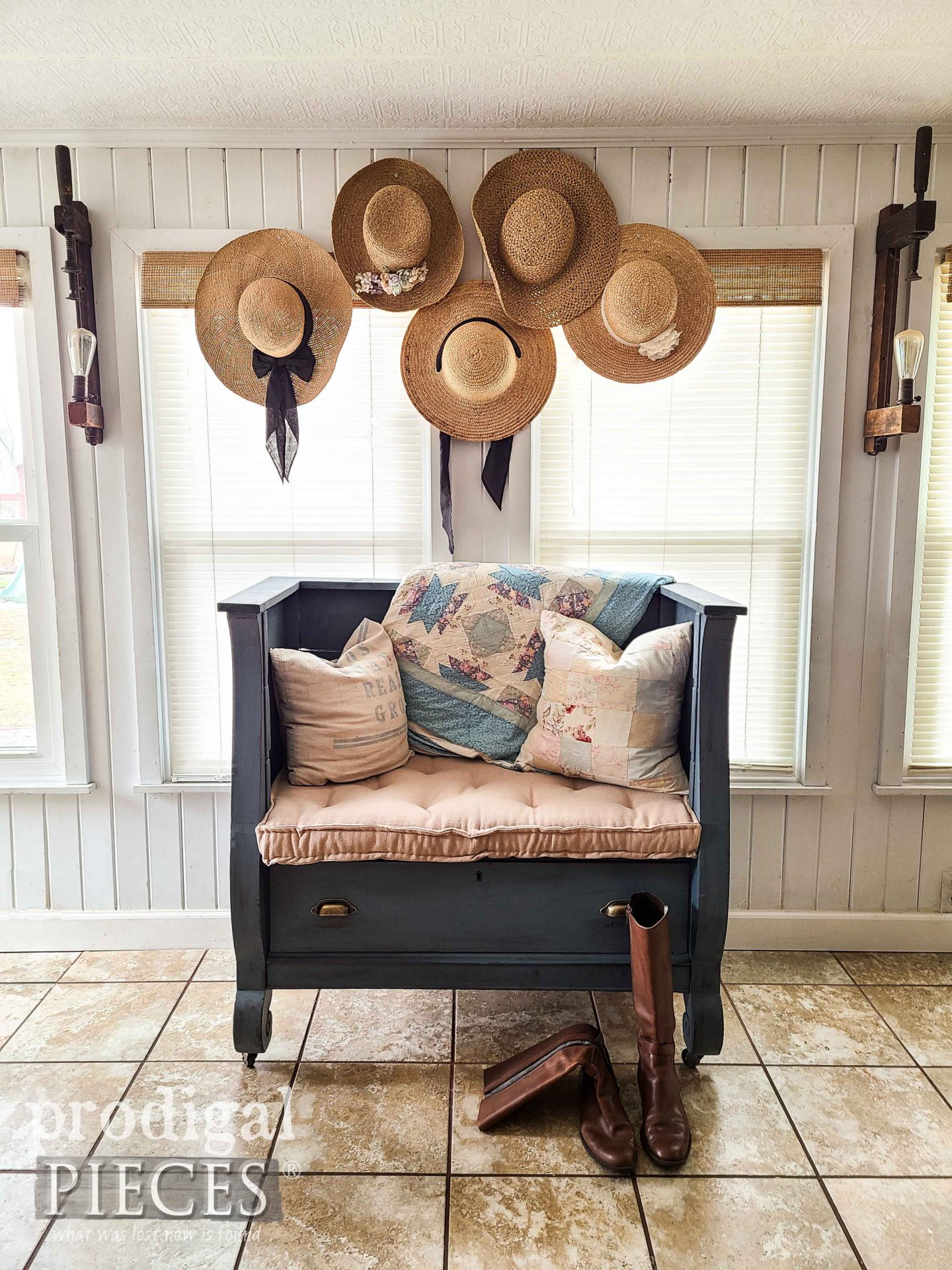 Repurposed Antique Empire Chest Repurposed into Upholstered Bench by Larissa of Prodigal Pieces | prodigalpieces.com #prodigalpieces #diy #upcycled #repurposed #home #homedecor #upholstery #furniture