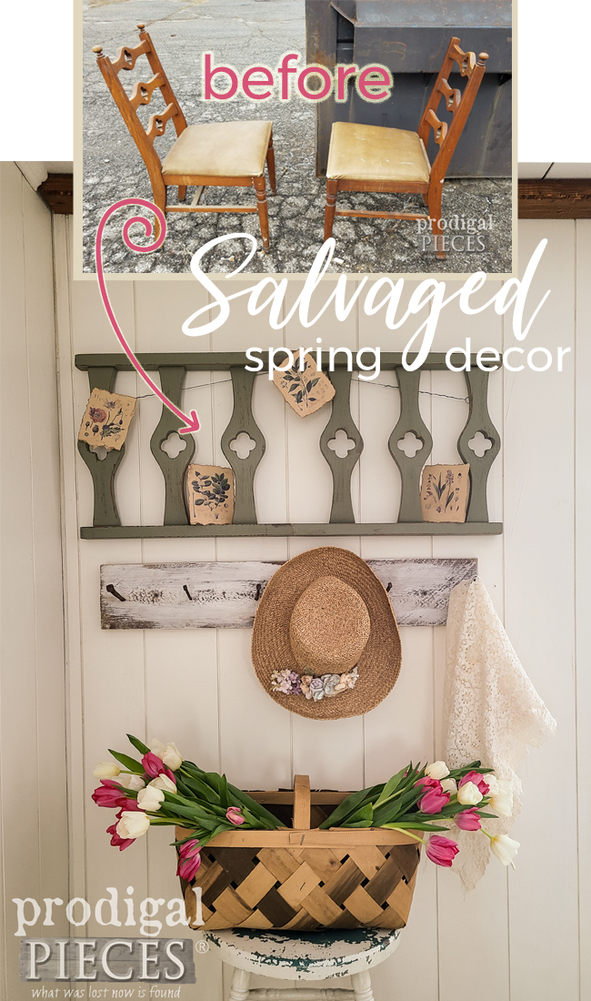 Create your own salvaged spring decor from broken chairs. It makes your own home story | prodigalpieces.com #prodigalpieces #art #home #homedecor #spring