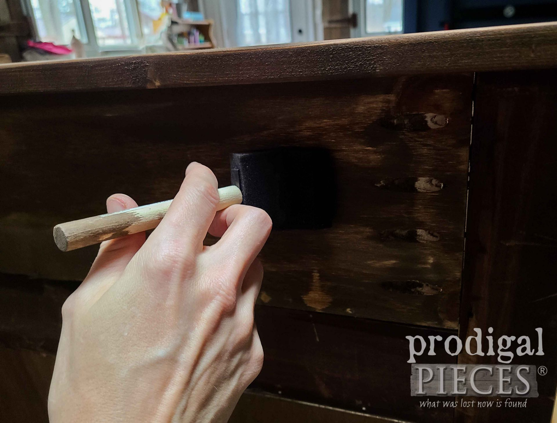 Applying Stain to Antique Empire Chest Upcycled | prodigalpieces.com