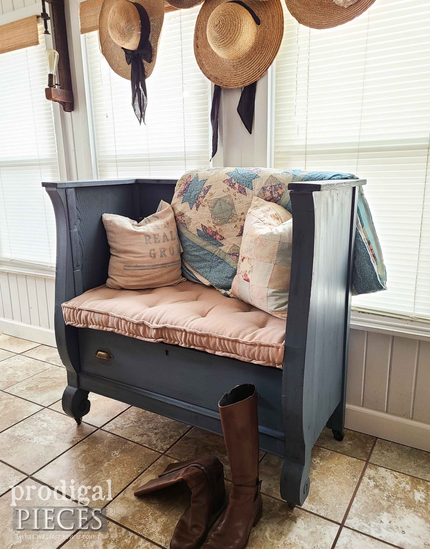 Tufted French Mattress on Blue Bench Made from Upcycled Antique Empire Chest by Larissa of Prodigal Pieces | prodigalpieces.com #prodigalpieces #furniture #home #homedecor #upcycled