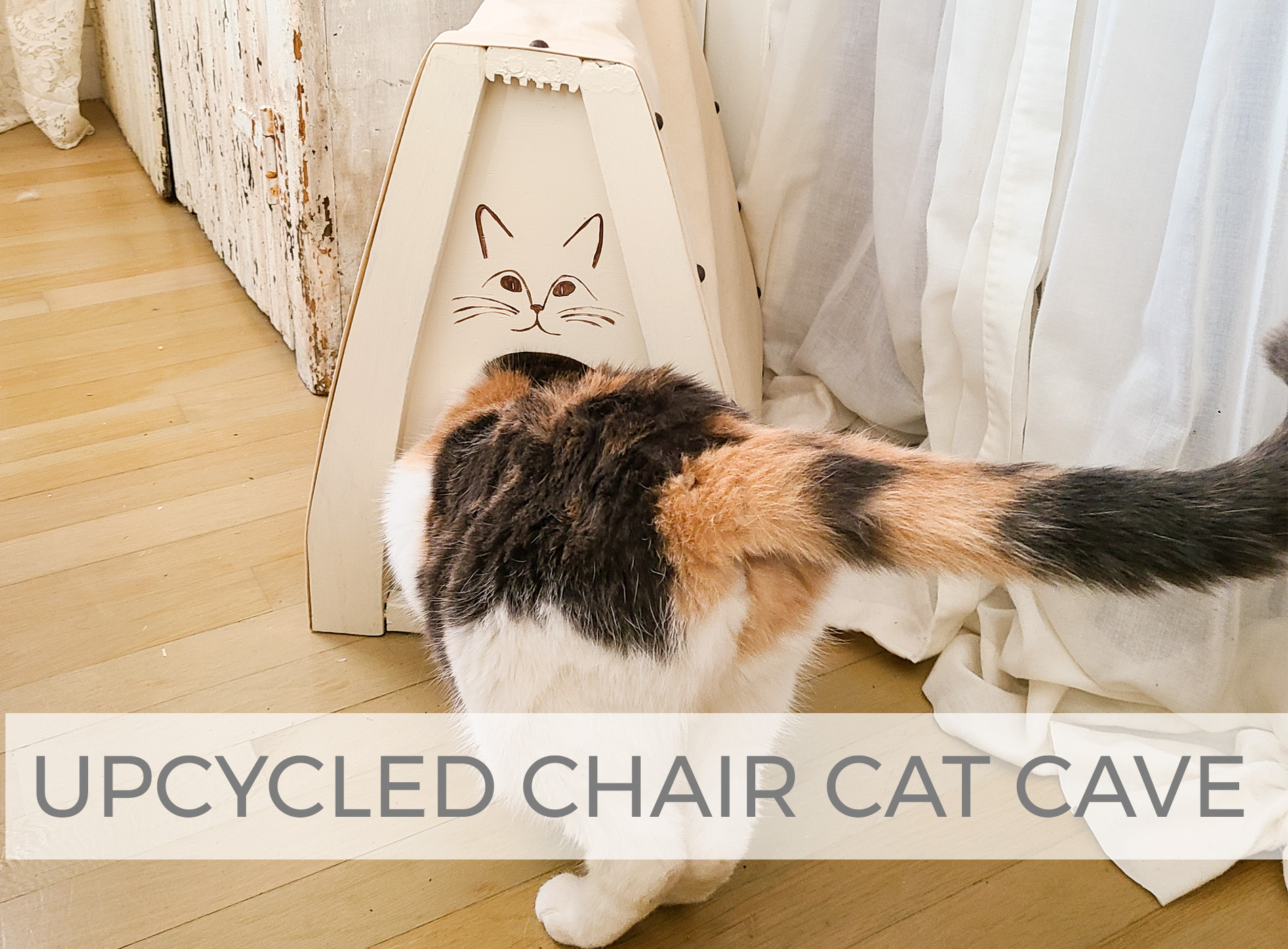 Upcycled Chair Cat Cave by Larissa of Prodigal Pieces | prodigalpieces.com #prodigalpieces