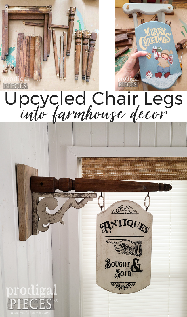 Take those broken chairs and turn them into architectural salvage decor. Upcycled Chair Legs by Larissa of Prodigal Pieces | prodigalpieces.com #prodigalpieces #home #diy #homedecor #art