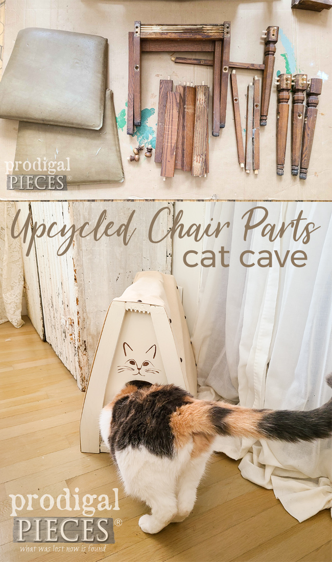 Upcycle Chair Parts into a DIY Cat Cave by Larissa of Prodigal Pieces | prodigalpieces.com #prodigalpieces #cat #pets #home #homedecor