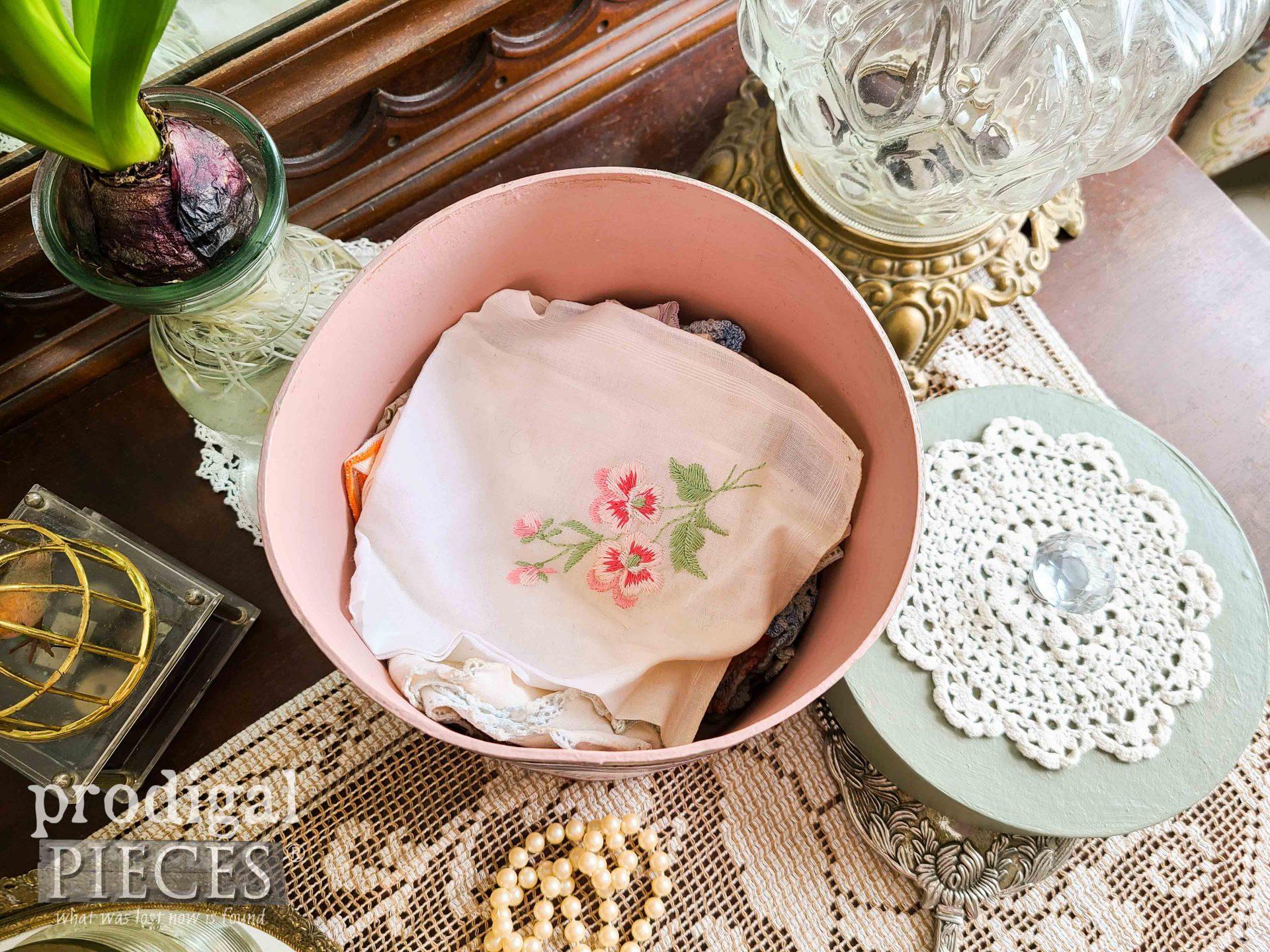 Vintage Hankies Pile in DIY Decoupage Box by Larissa of Prodigal Pieces | prodigalpieces.com #prodigalpieces #diy #home