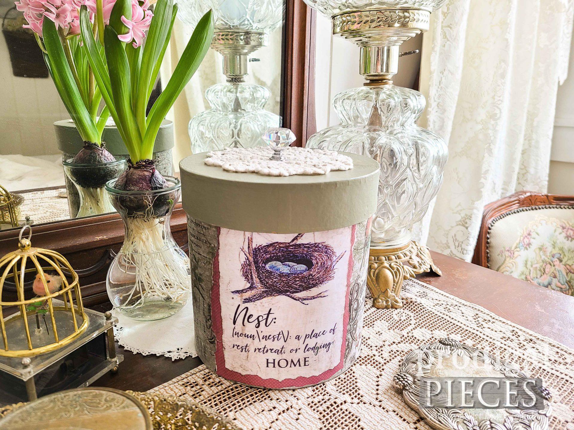 Vintage Style DIY Decoupage Box with Birds by Larissa of Prodigal Pieces | prodigalpieces.com #prodigalpieces #diy #vintage #home #decoupage #crafts