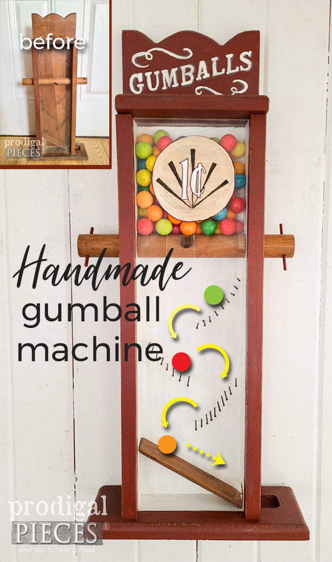 A sweet treat! This vintage handmade gumball machine was blucky and boring until Larissa of Prodigal Pieces gives it a makeover. See at Prodigal Pieces | prodigalpieces.com #prodigalpieces #vintage #farmhouse #candy #fun