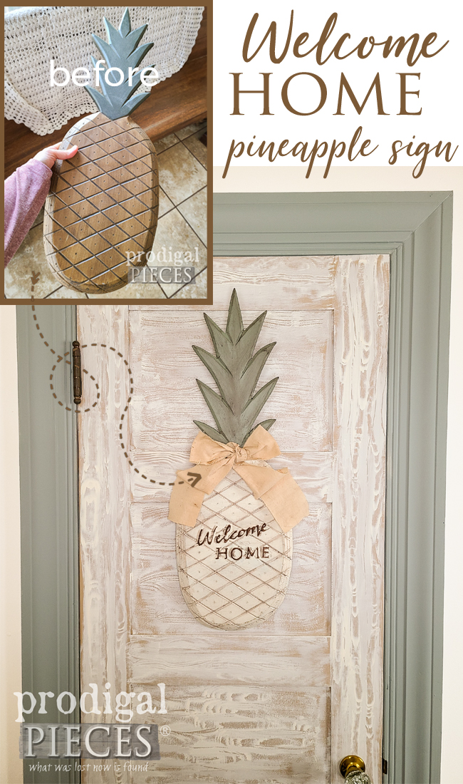 Create a cozy home making use of what you find. This welcome sign pineapple is sure to greet family & friends with a smile. by Larissa of Prodigal Pieces | prodigalpieces.com #prodigalpieces #diy #home #homedecor