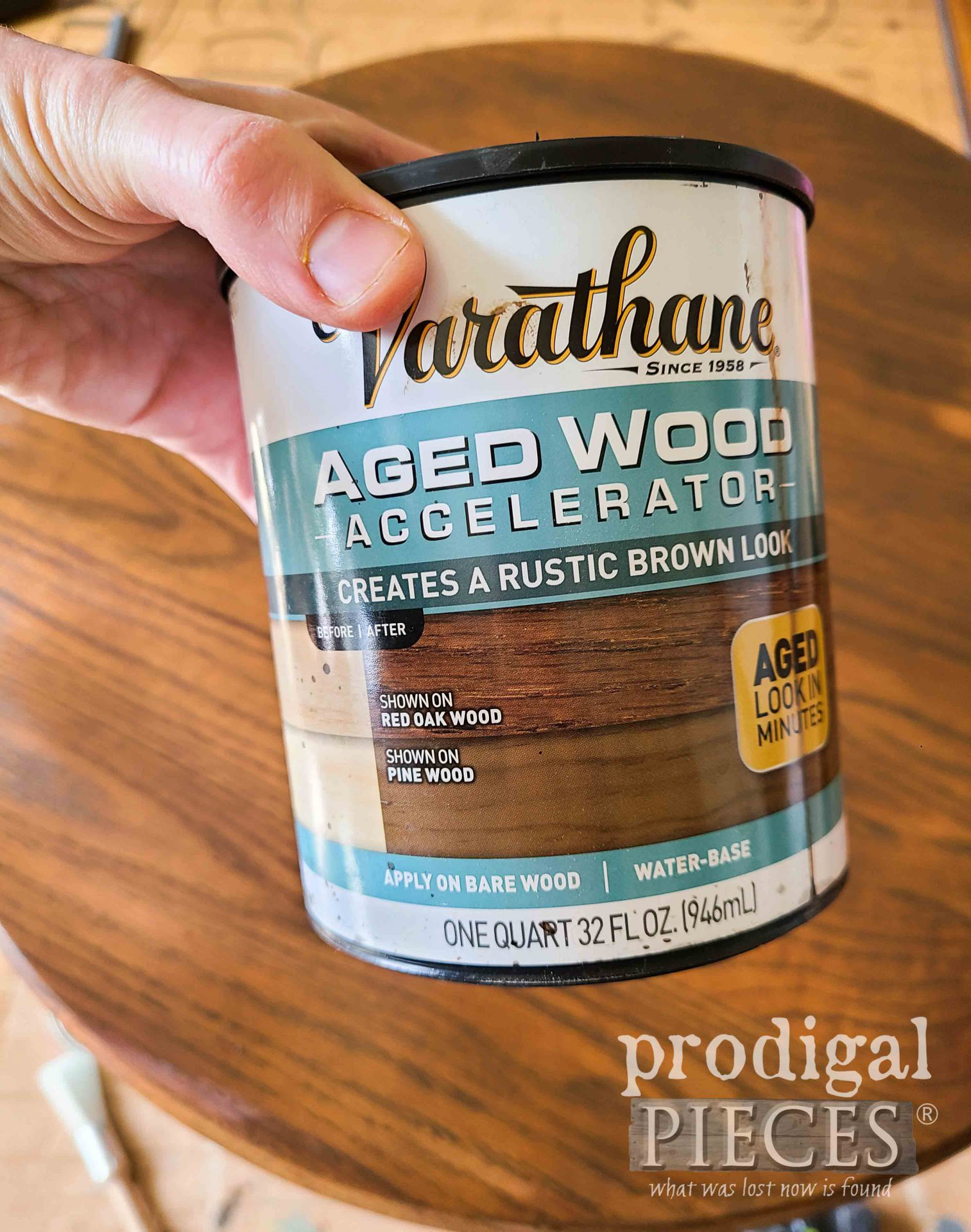 Aged Wood Accelerator for Oak Pedestal Table by Larissa of Prodigal Pieces | prodigalpieces.com