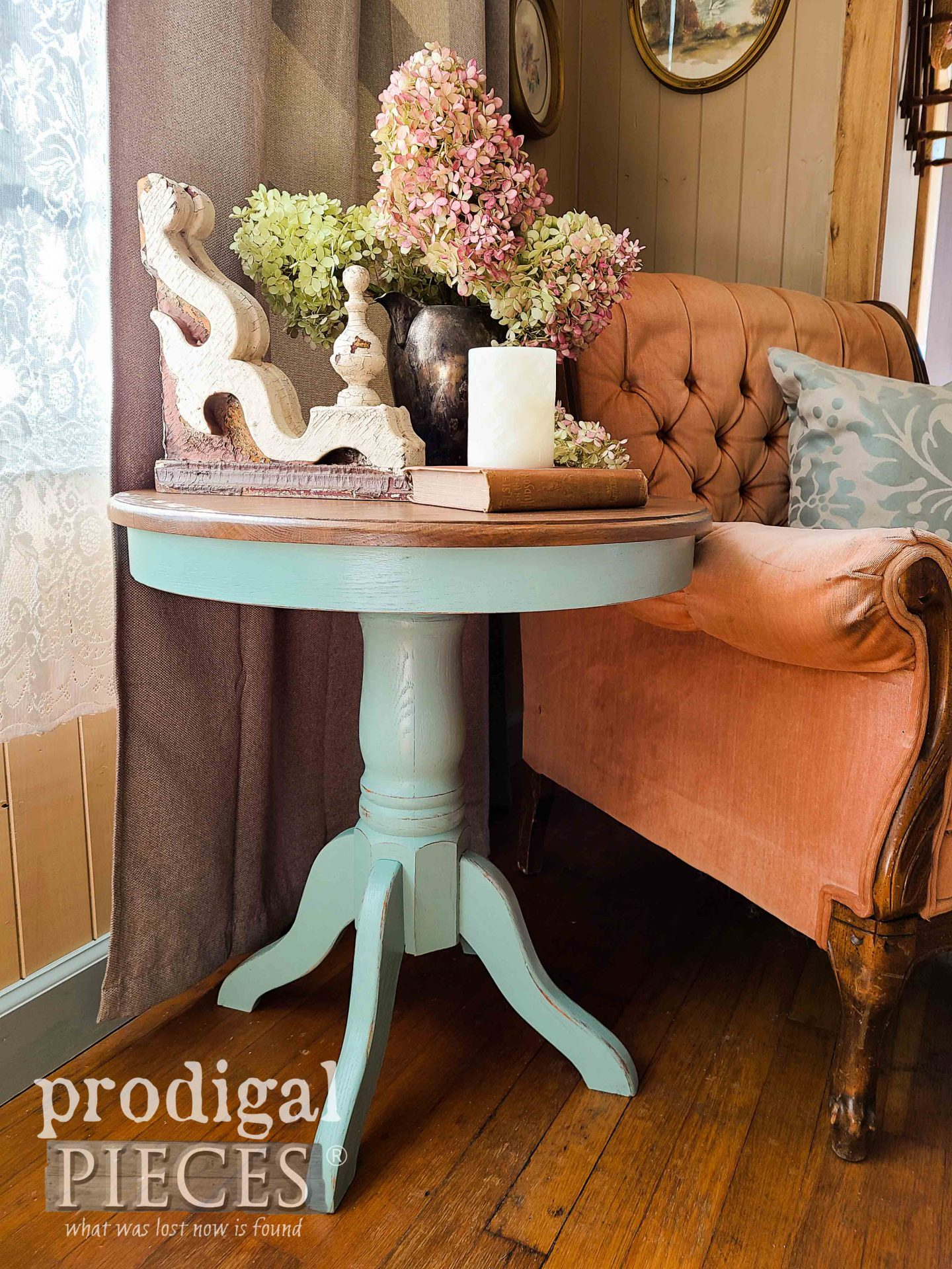 Blue Oak Pedestal Table Made New by Larissa of Prodigal Pieces | prodigalpieces.com #prodigalpieces #furniture #home #diy