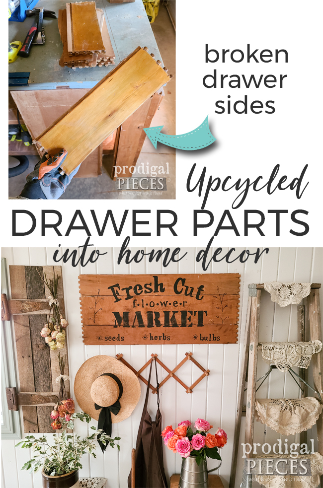 Don't toss those broken drawers. Instead create your own home decor. Tutorial at Larissa of Prodigal Pieces | prodigalpieces.com #prodigalpieces #diy #farmhouse #home #homedecor #spring