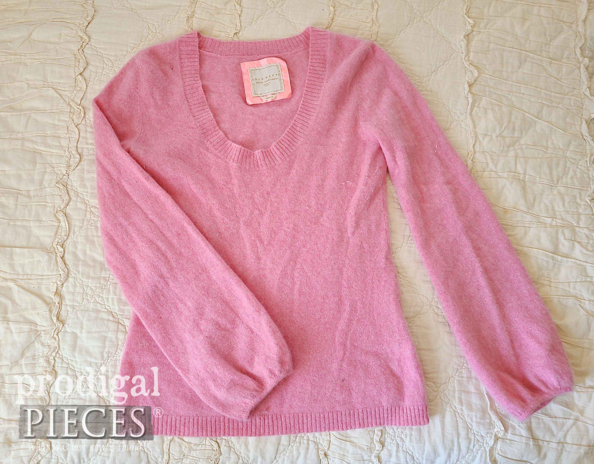 Pink Cashmere Sweater Before Refashion | prodigalpieces.com #prodigalpieces