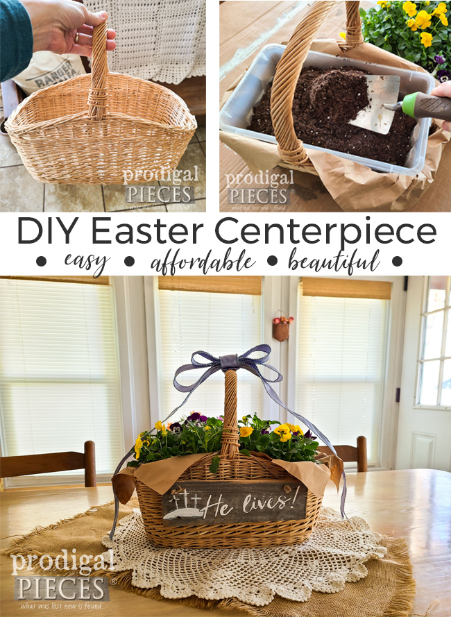 Beautiful, Affordable, and Easy ~ DIY Easter Centerpiece by Larissa of Prodigal Pieces | prodigalpieces.com #prodigalpieces #easter #diy #flowers #garden