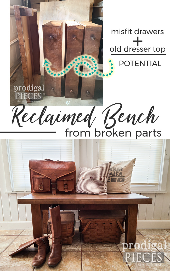 An antique empire chest of drawers was dismantled to make a few projects. This is Part 2 where the top and drawers make a reclaimed bench by Larissa of Prodigal Pieces | prodigalpieces.com #prodigalpieces #reclaimed #furniture #upcycled #home #homedecor