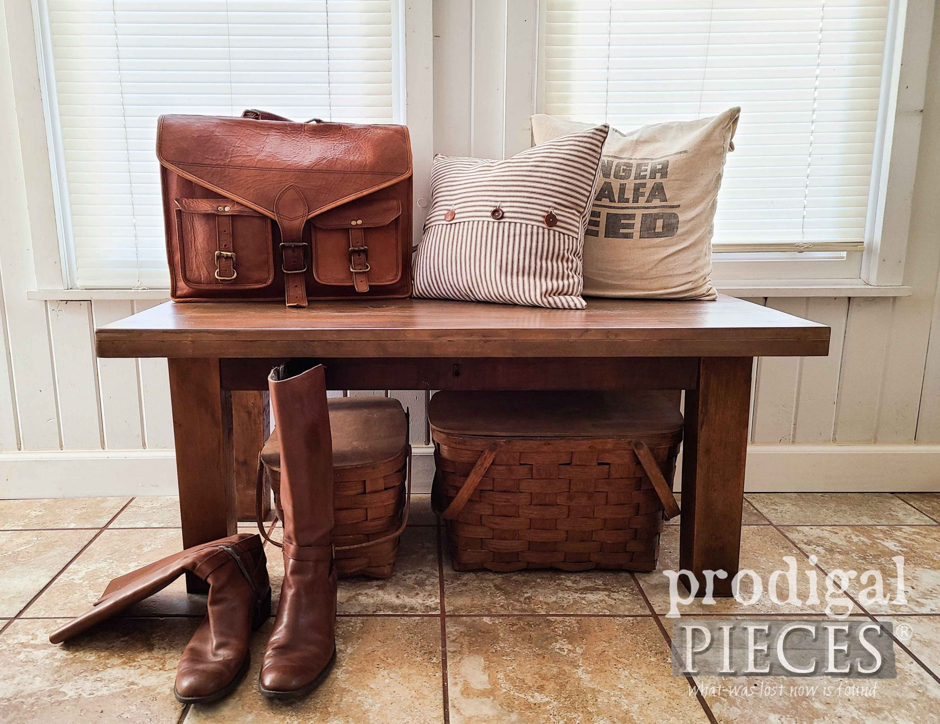 Farmhouse Reclaimed Bench Built from Antique Empire Chest Parts by Larissa of Prodigal Pieces   prodigalpieces.com #prodigalpieces #home #furniture #diy #homedecor