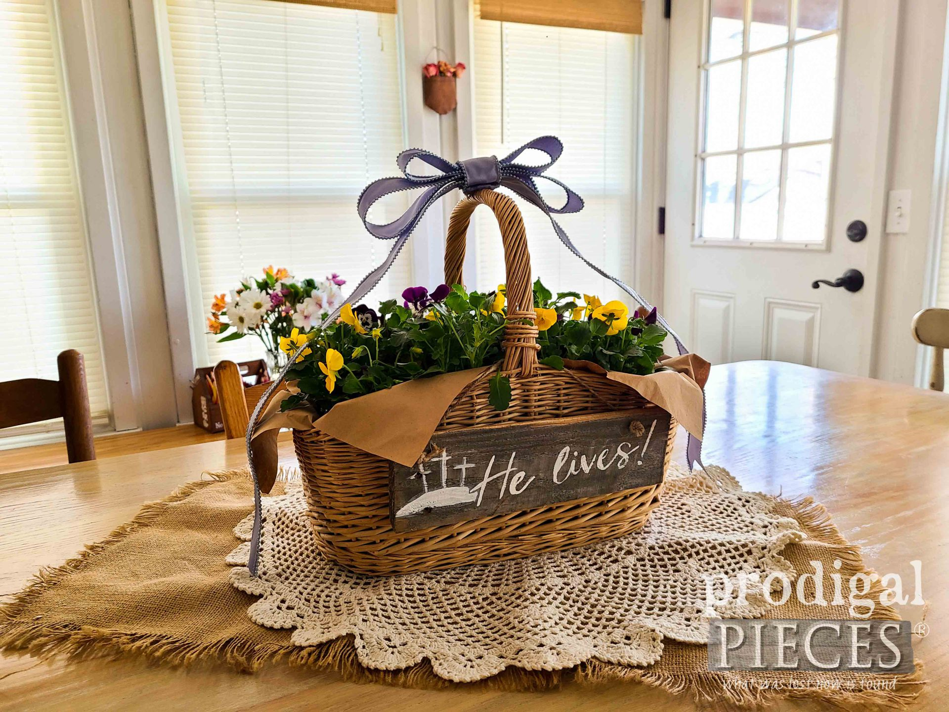 Flower Basket for Easter DIY Tutorial by Larissa of Prodigal Pieces | prodigalpieces.com #prodigalpieces #flowers #easter #diy #home