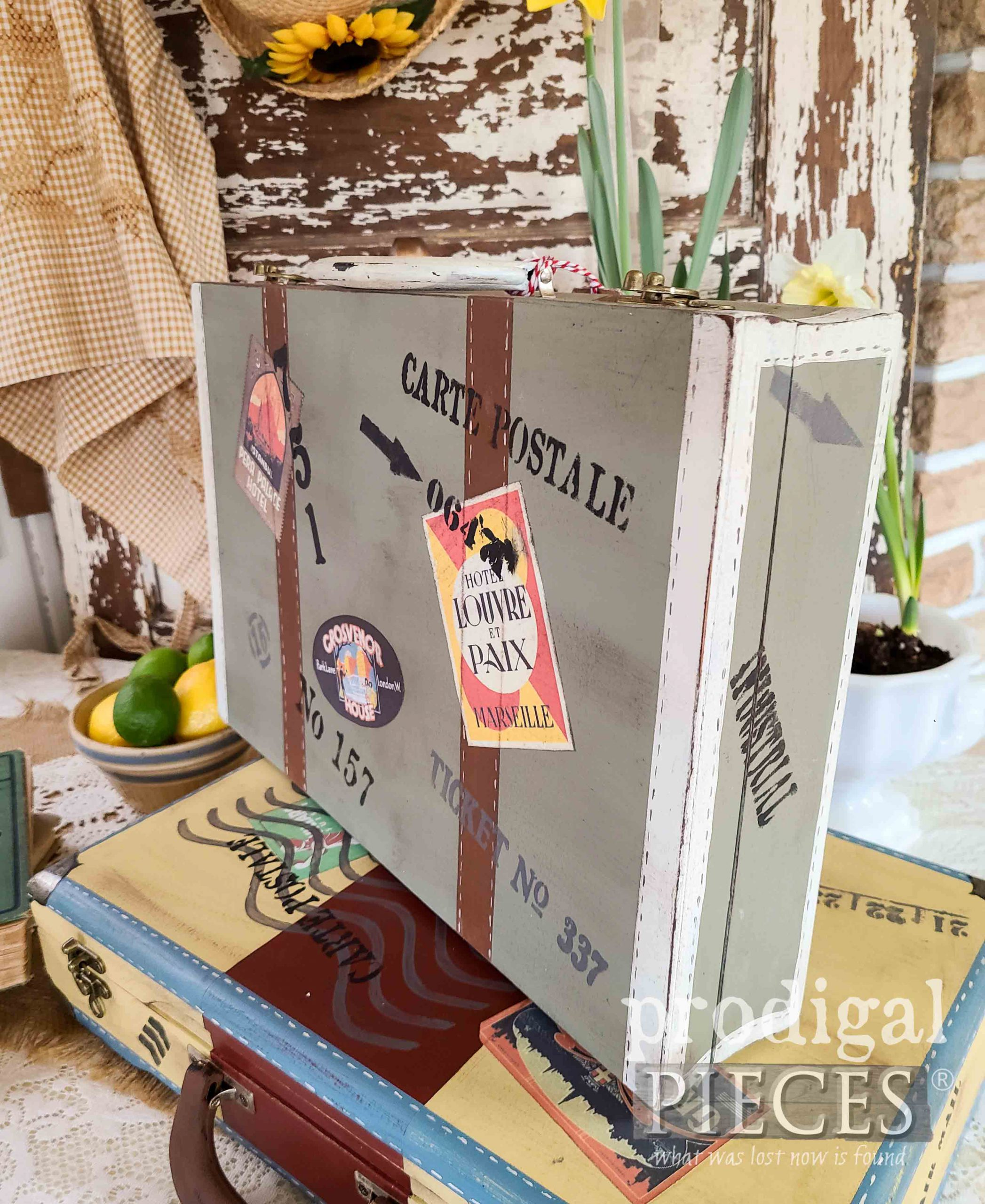 Repurposed Silverware Box into Green Vintage Luggage Box by Larissa of Prodigal Pieces | prodigalpieces.com #prodigalpieces #vintage #home #homedecor