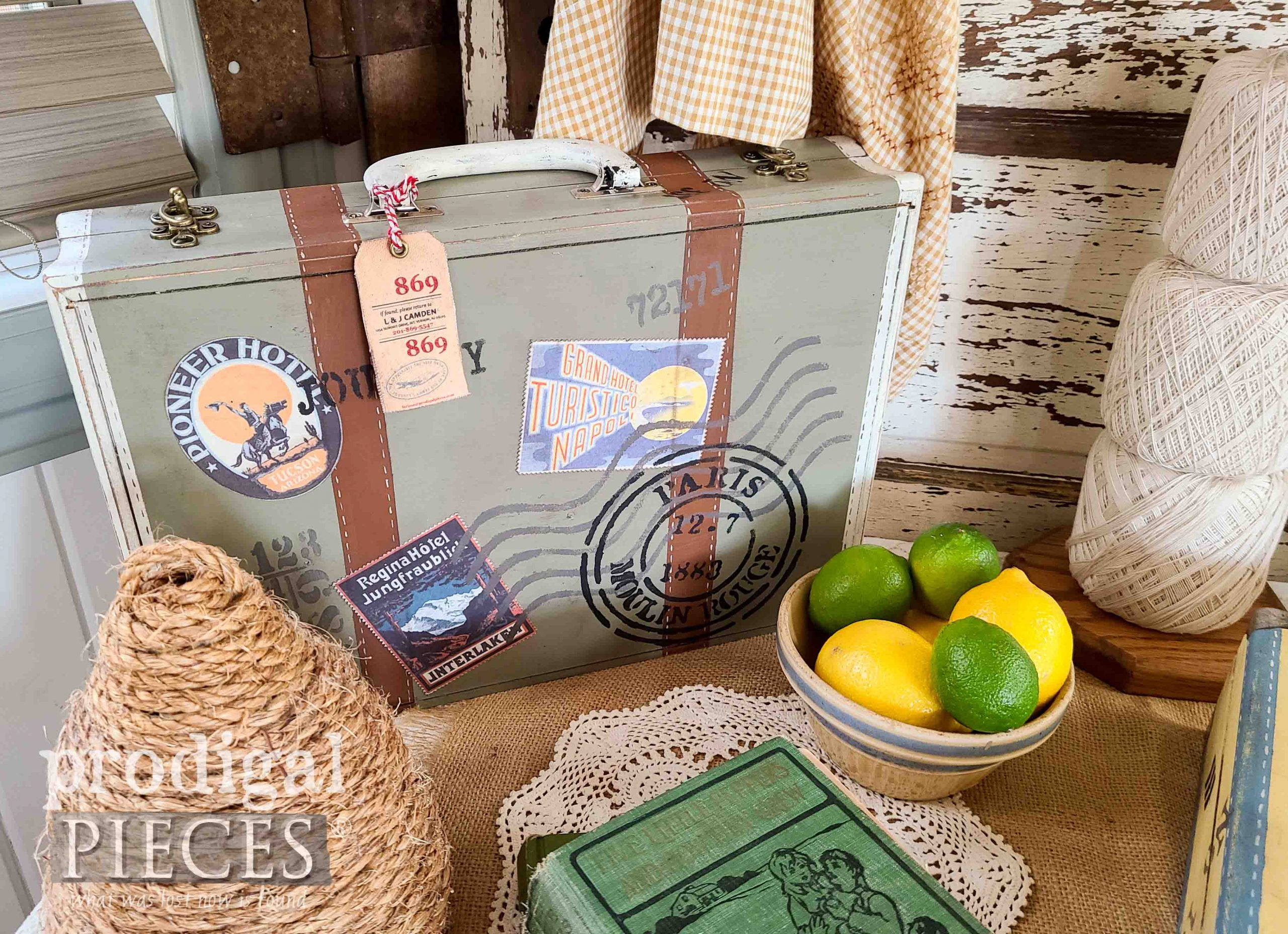 Green Vintage Style Suitcase from Repurposed Silverware Box by Larissa of Prodigal Pieces | prodigalpieces.com #prodigalpieces #diy #home #homedecor