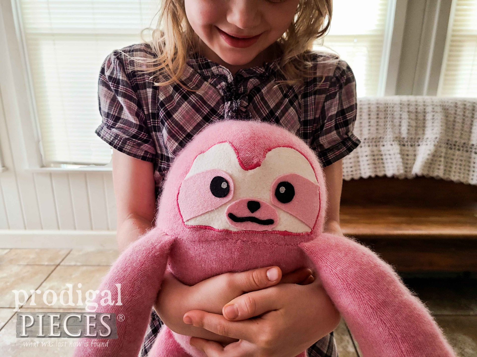 Handmade Upcycled Sweater Sloth Plush Doll Made by Larissa of Prodigal Pieces | prodigalpieces.com #prodigalpieces #toys #diy #sewing #kids #dolls