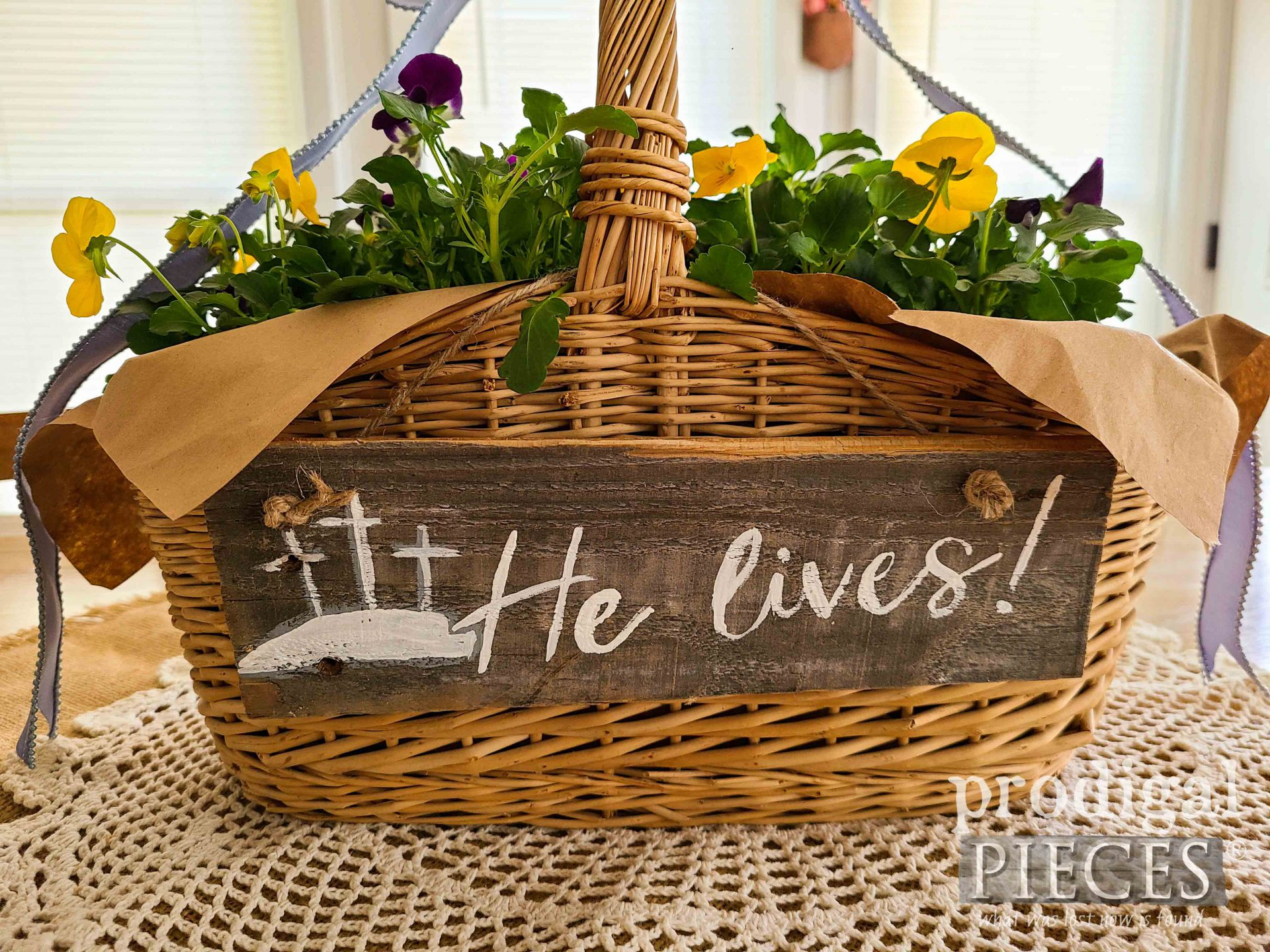 He Lives Easter Basket with DIY Tutorial by Larissa of Prodigal Pieces | prodigalpieces.com #prodigalpieces #easter #diy #flowers #spring #home #homedecor