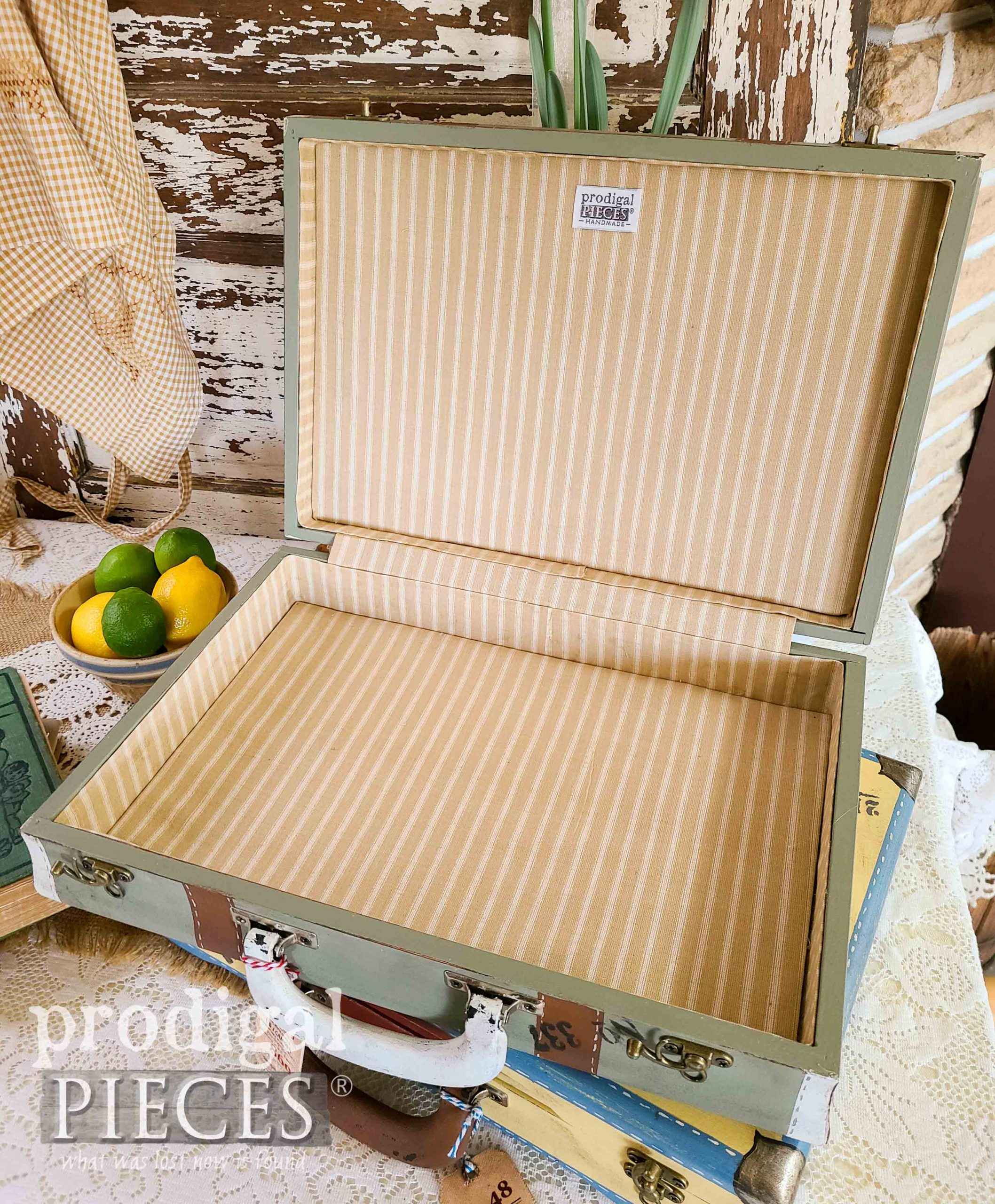 Ticking Lining Inside Green Luggage Box by Larissa of Prodigal Pieces | prodigalpieces.com #prodigalpieces #diy #home #vintage #homedecor