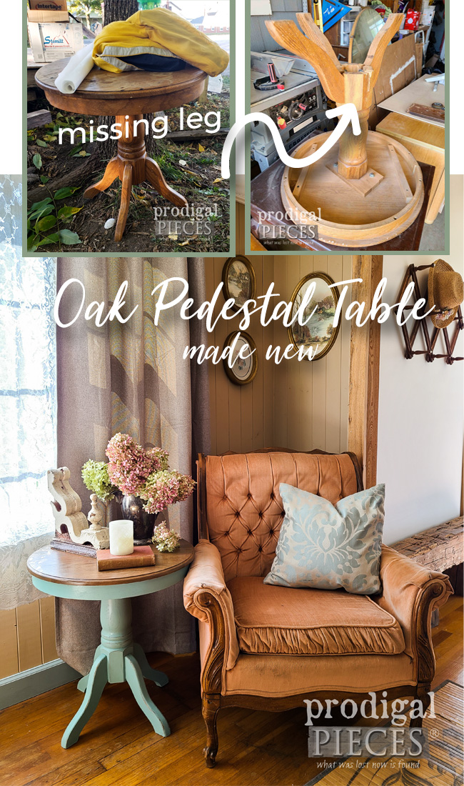 Oak Pedestal Table Missing a Leg Gets a Refreshing Makeover by Larissa of Prodigal Pieces | prodigalpieces.com #prodigalpieces #furniture #home #diy #farmhouse #homedecor