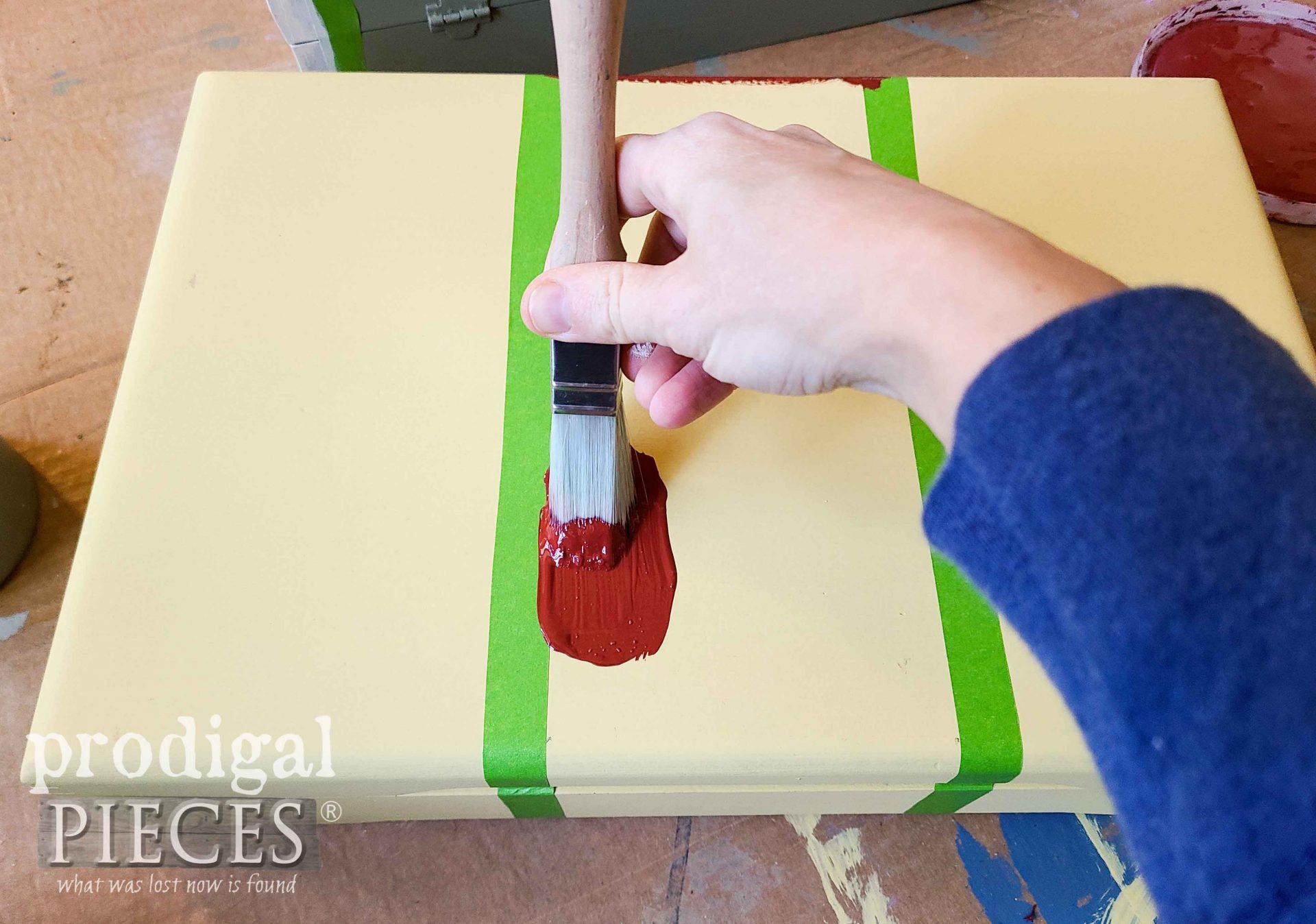 Painting Stripe on Repurposed Silverware Box   Prodigal Pieces   prodigalpieces.com