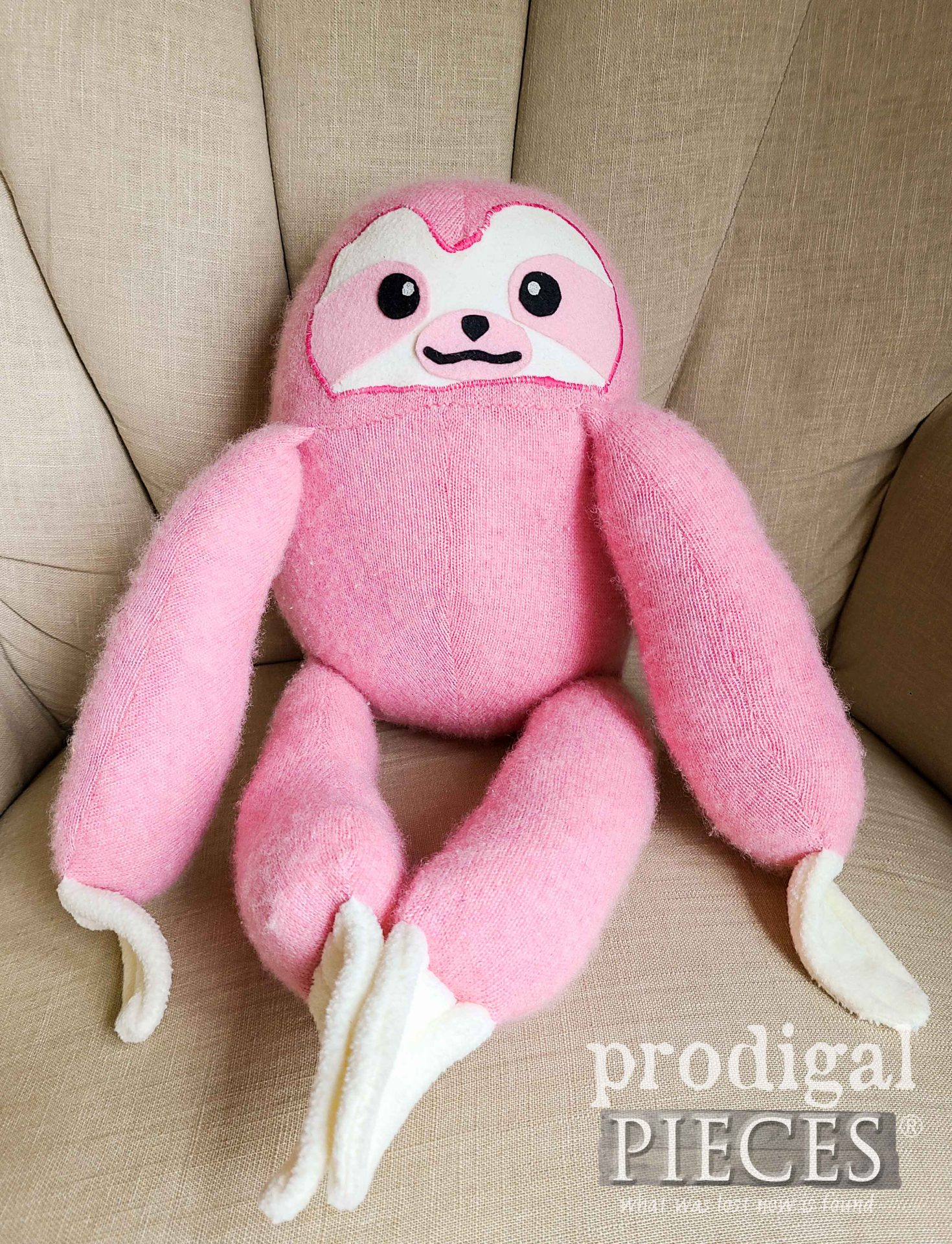Adorable Pink Sloth Plushie Made from Upcycled Sweater ~ Refashion Fun by Larissa of Prodigal Pieces | prodigalpieces.com #prodigalpieces #toys #kids #gifts #pink