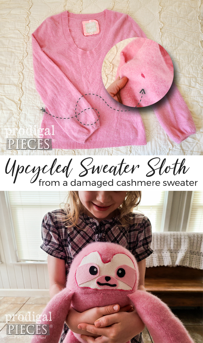 Sew cute! Larissa of Prodigal Pieces creates a refashioned sweater sloth from an upcycled cashmere sweater. See the free pattern at prodigalpieces.com #prodigalpieces #sewing #diy #kids #toys